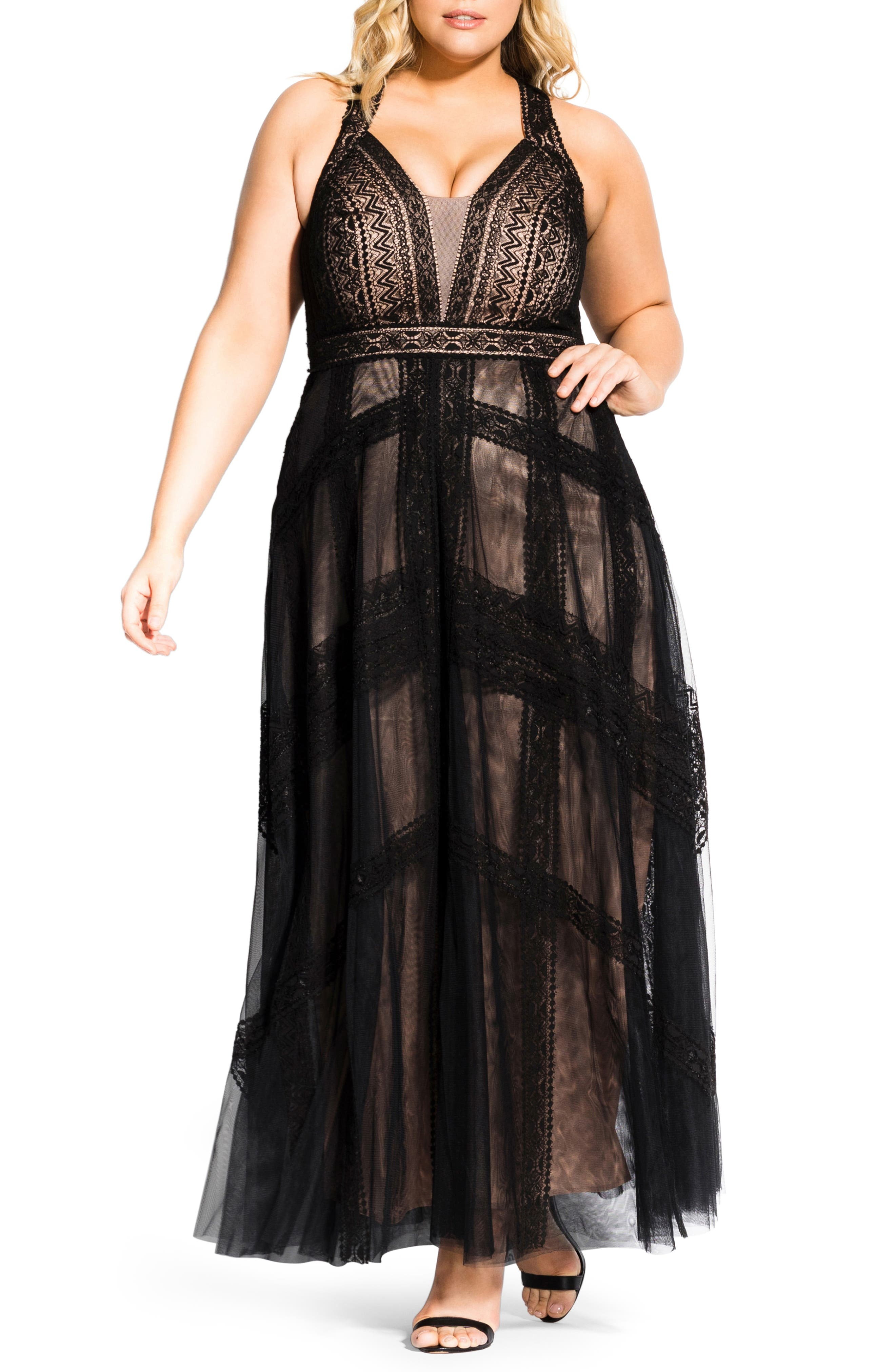 Plus Size City Chic Divine Whimsy Lace Gown, Black