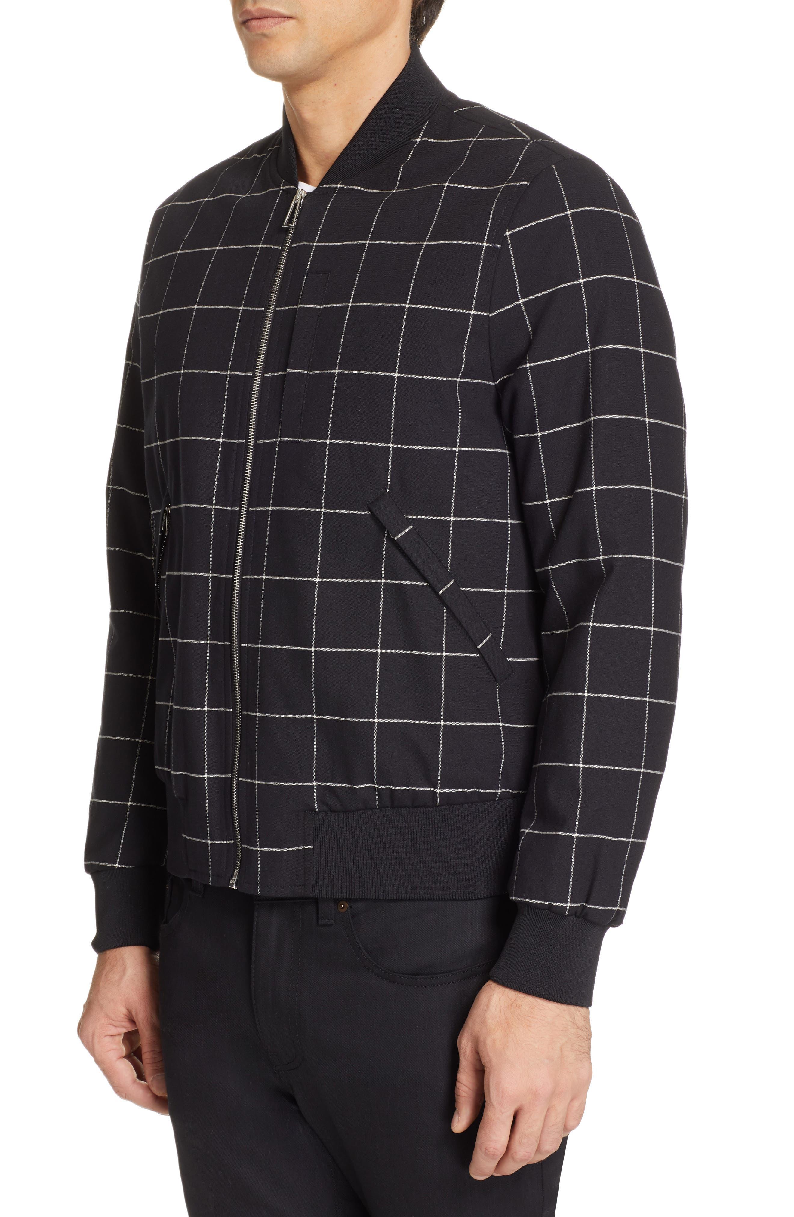 PS PAUL SMITH, Grid Wool Blend Bomber Jacket, Alternate thumbnail 4, color, BLACK