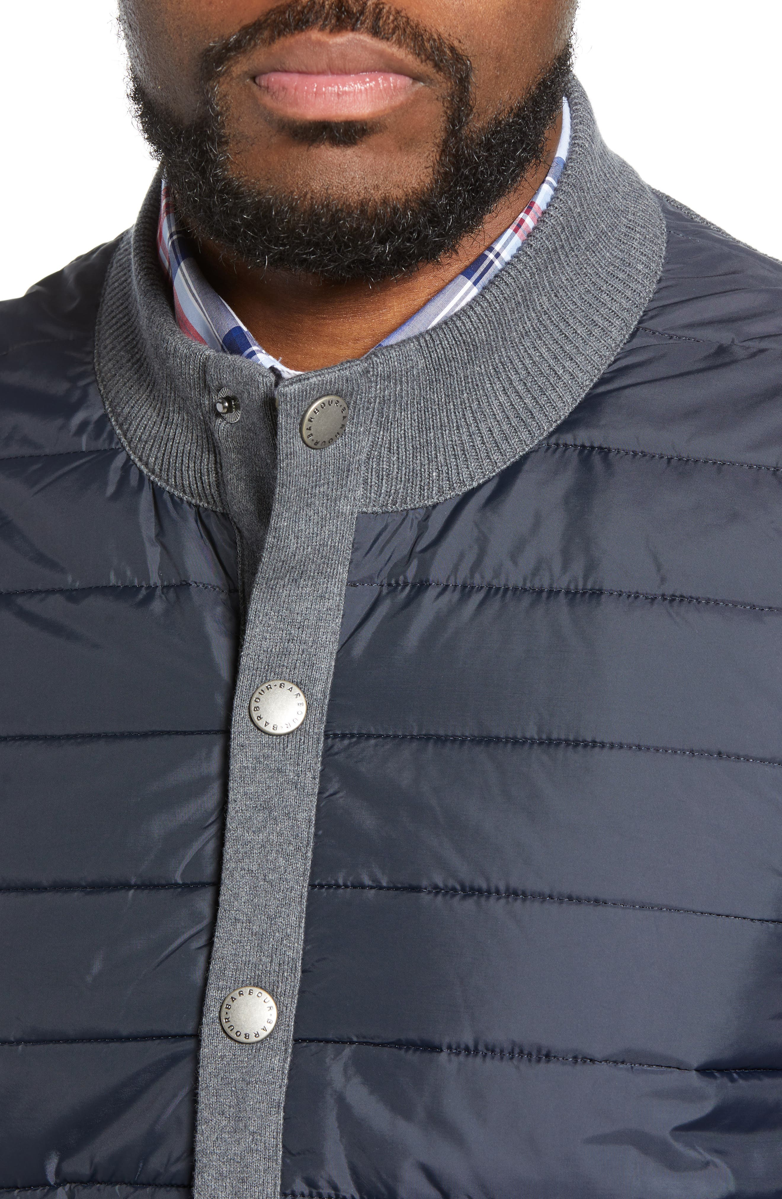 BARBOUR, 'Essential' Tailored Fit Mixed Media Vest, Alternate thumbnail 6, color, MID GREY