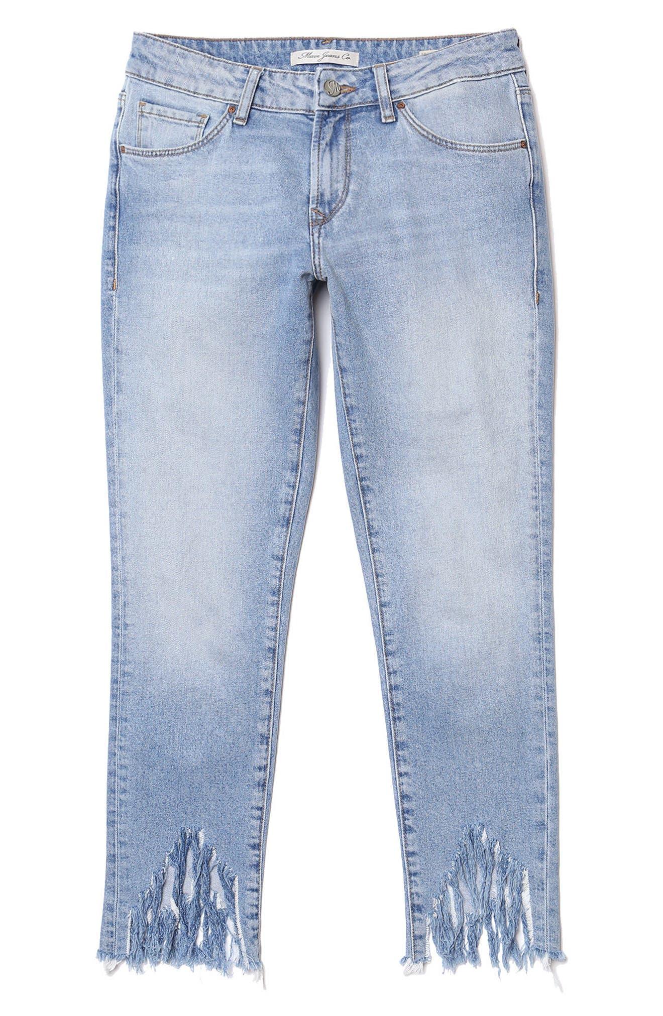 MAVI JEANS, Adriana Sharkbite Fringe Super Skinny Jeans, Alternate thumbnail 4, color, LIGHT FRINGE 90S
