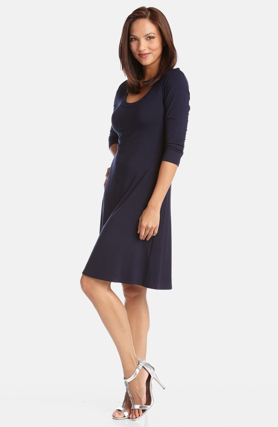KAREN KANE, A-Line Jersey Dress, Alternate thumbnail 3, color, NAVY