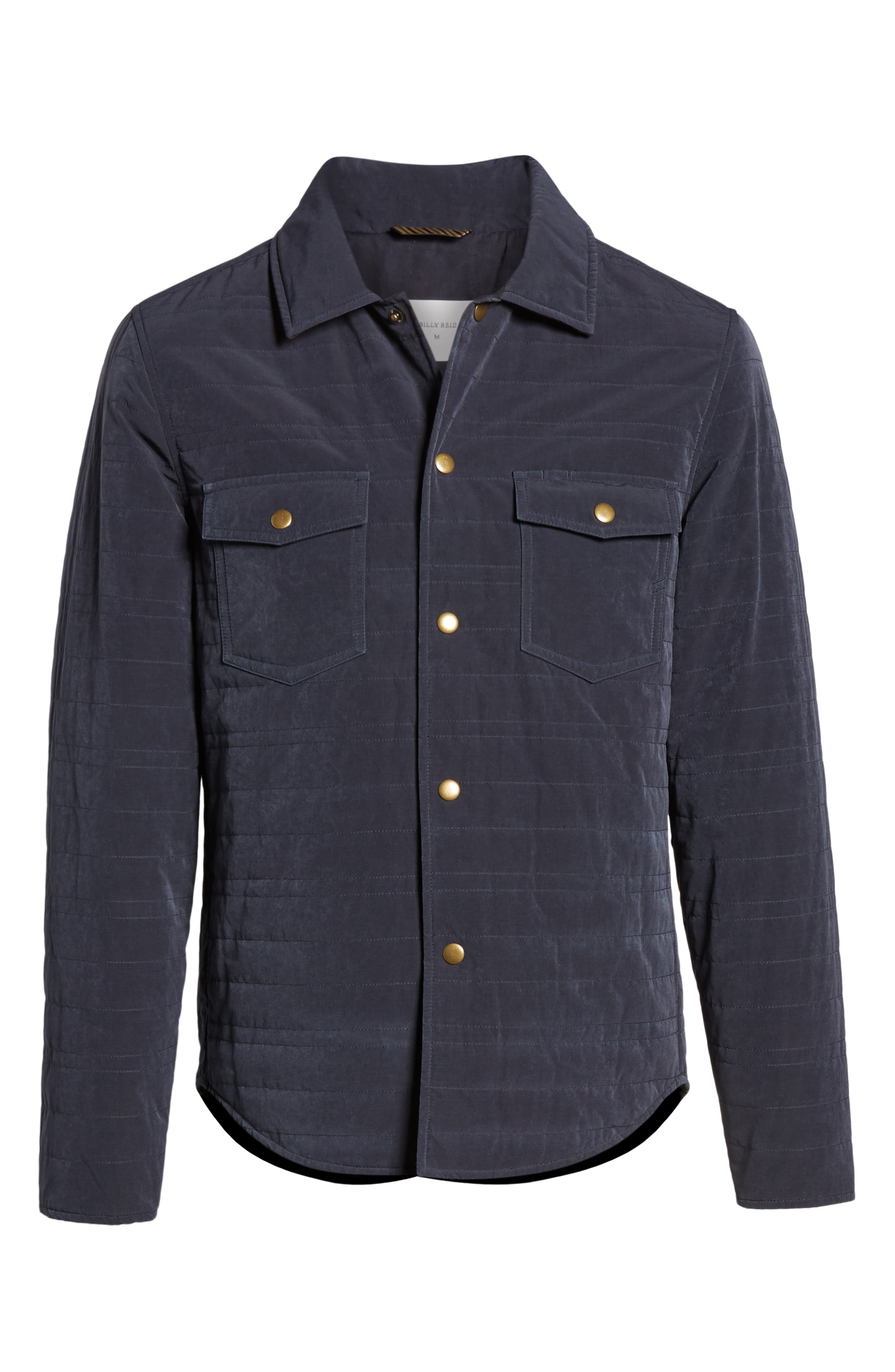 BILLY REID, Michael Slim Fit Quilted Shirt Jacket, Alternate thumbnail 6, color, NAVY