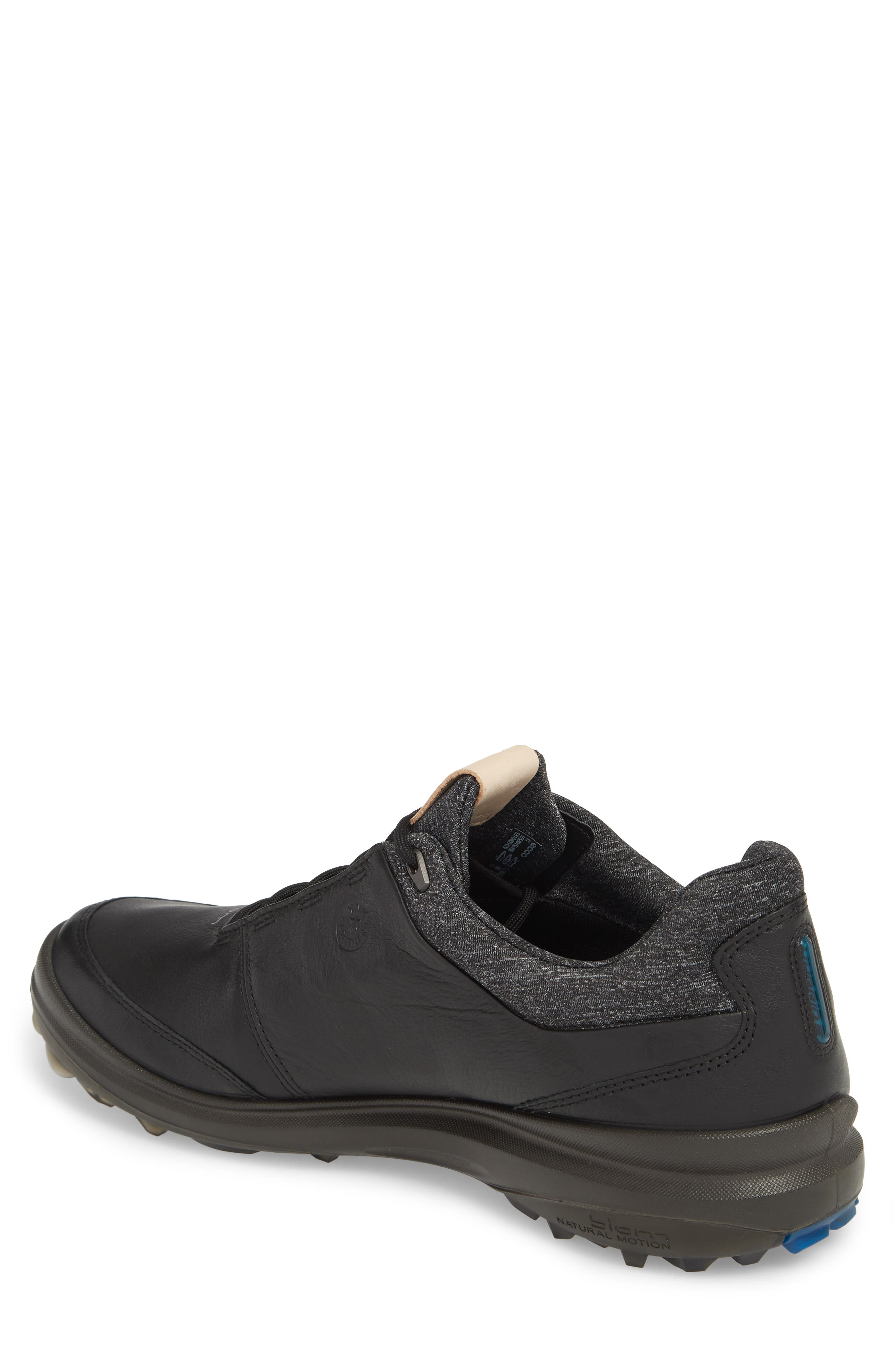 ECCO, BIOM Hybrid 3 Gore-Tex<sup>®</sup> Golf Shoe, Alternate thumbnail 2, color, BLACK/ BERMUDA BLUE LEATHER