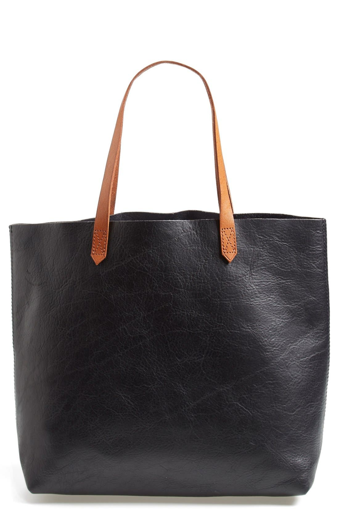MADEWELL, 'The Transport' Leather Tote, Alternate thumbnail 4, color, TRUE BLACK