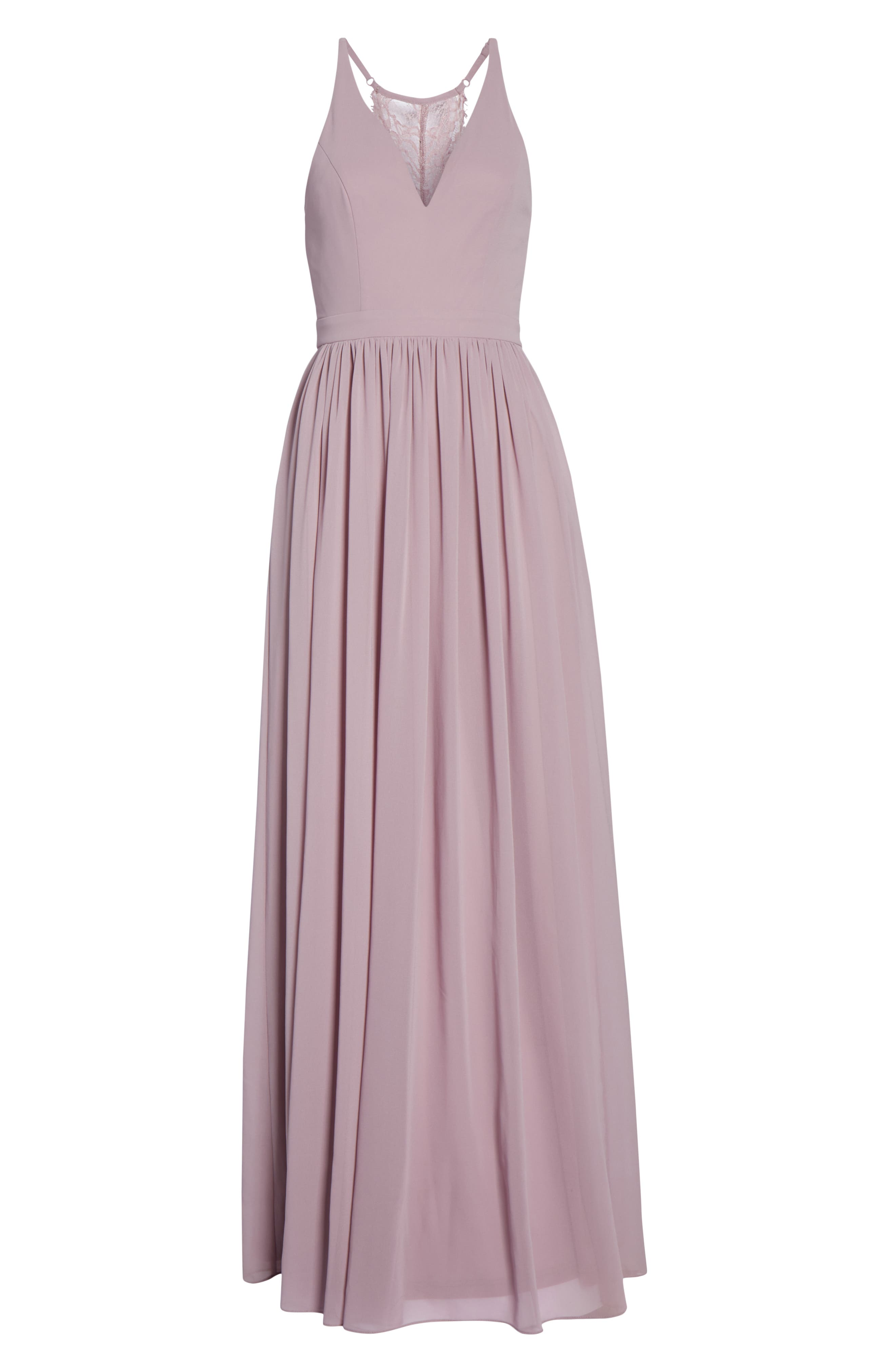 LULUS, Everlasting Beauty Lace Back Chiffon Gown, Alternate thumbnail 7, color, LAVENDER