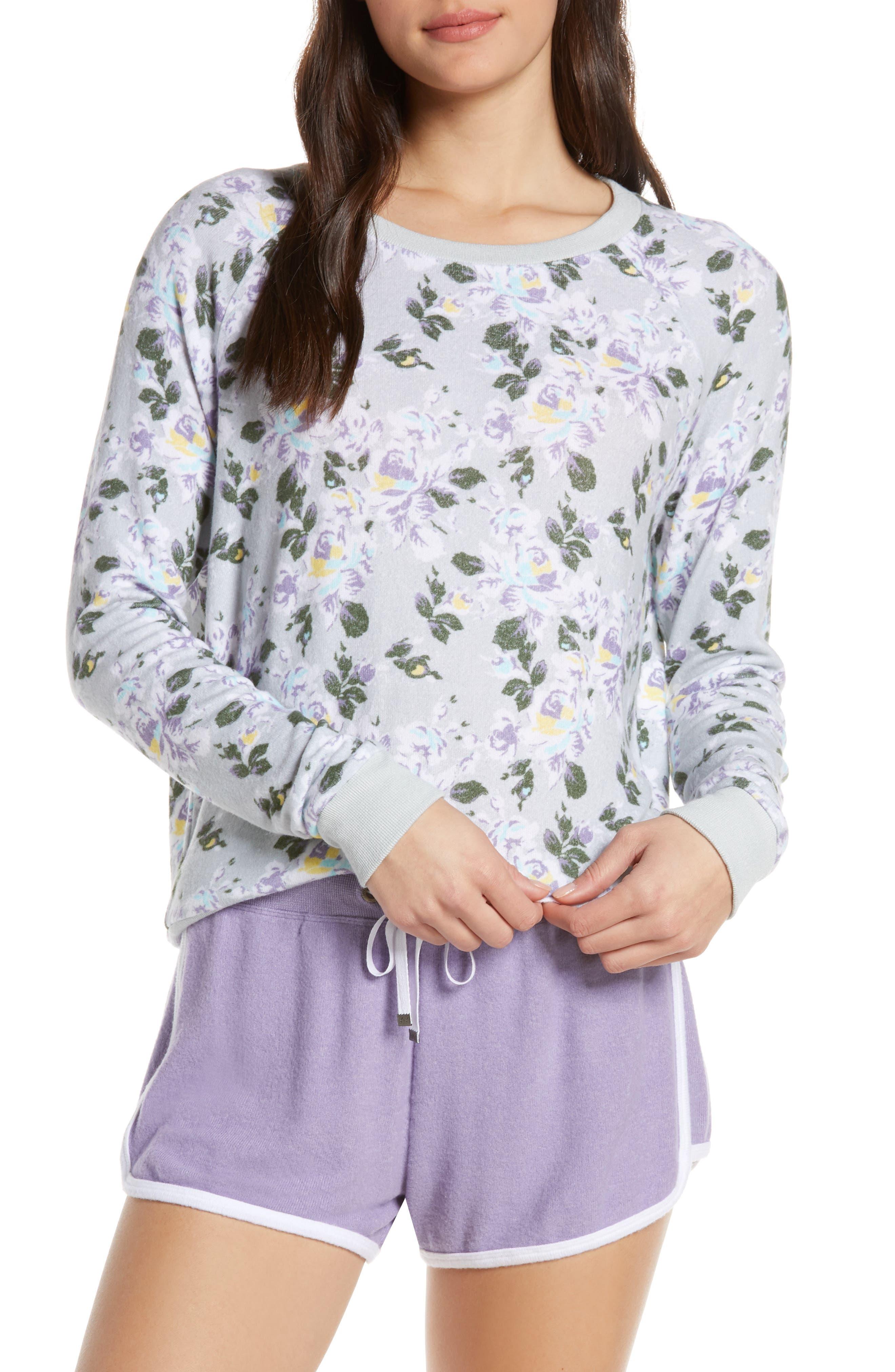 MAKE + MODEL Cozy Crew Raglan Sweatshirt, Main, color, GREY MICRO ANTIQUE ROSES