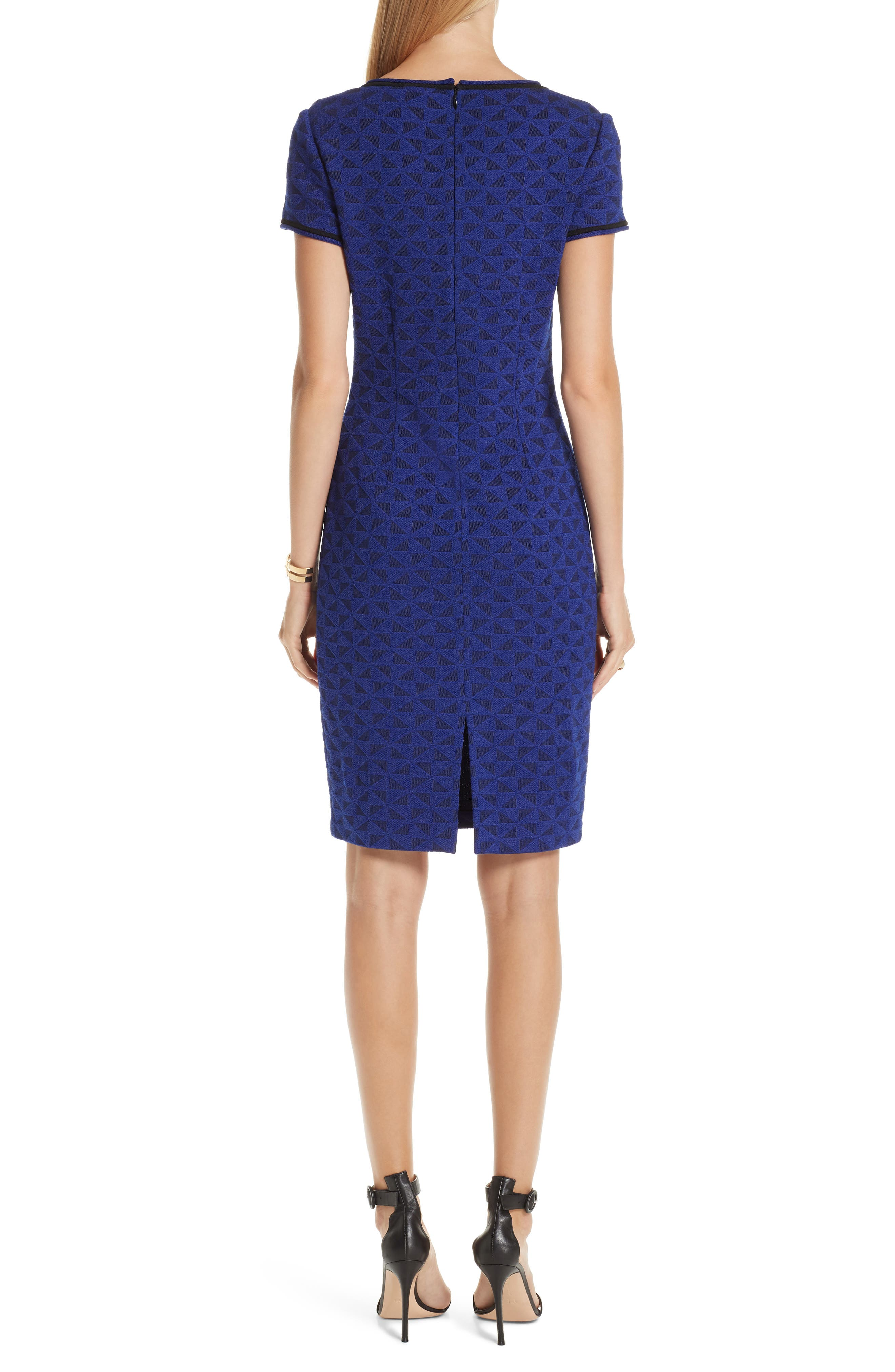 ST. JOHN COLLECTION, Micro Geo Blister Knit Sheath Dress, Alternate thumbnail 2, color, CAVIAR/ SAPPHIRE