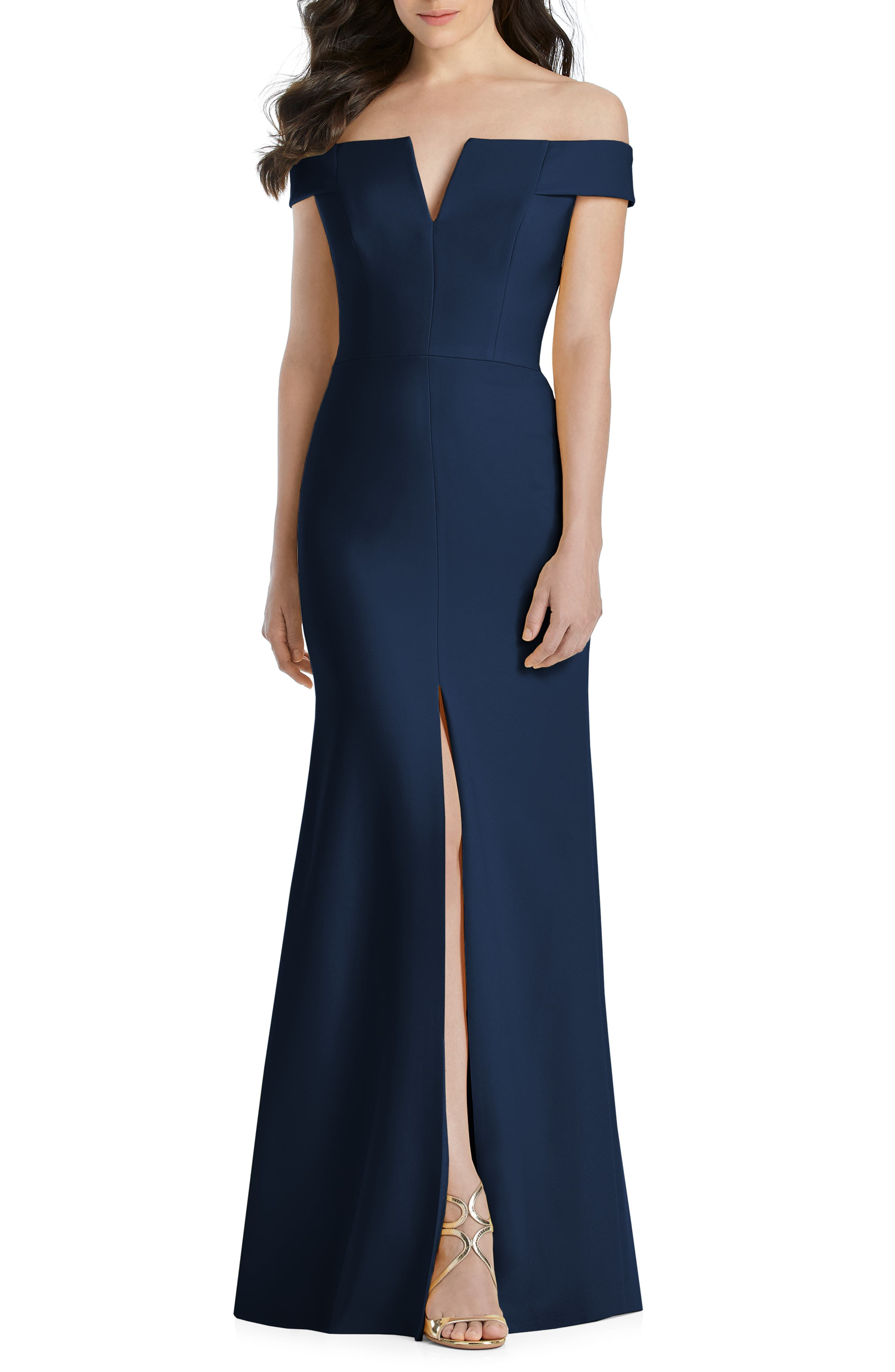 DESSY COLLECTION, Notched Off the Shoulder Crepe Gown, Main thumbnail 1, color, MIDNIGHT