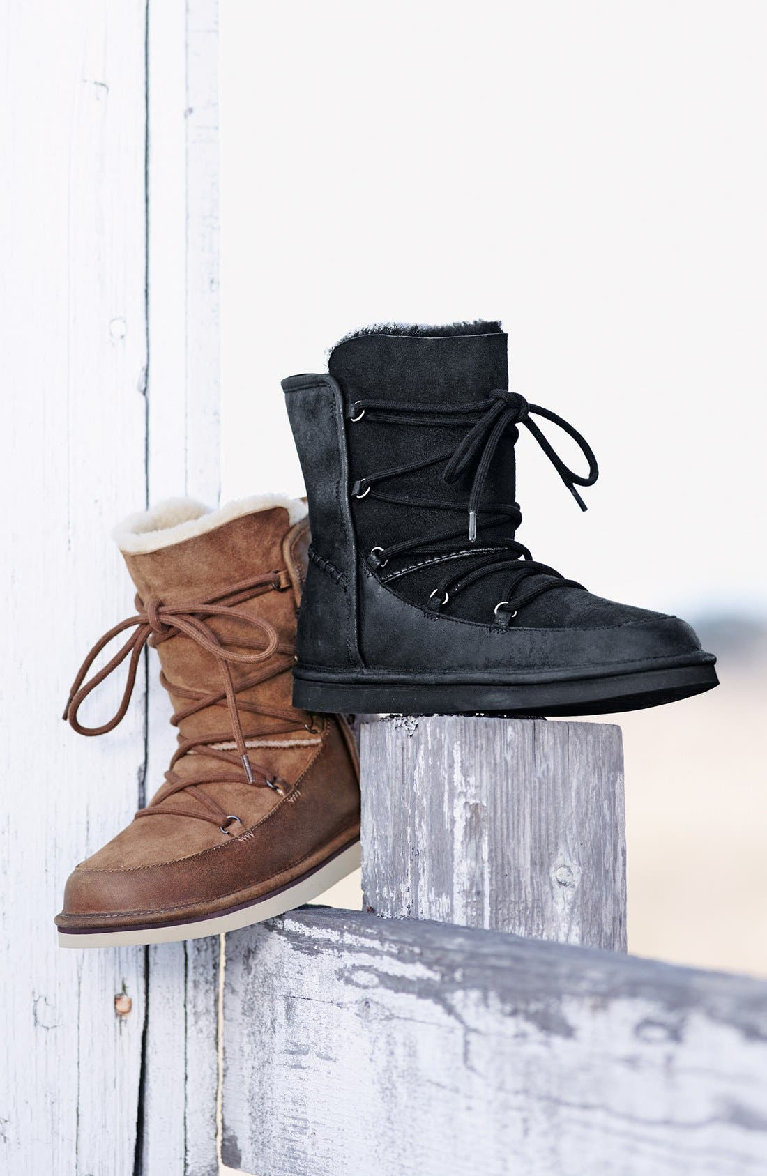 UGG<SUP>®</SUP>, Lodge Water Resistant Lace-Up Boot, Alternate thumbnail 5, color, 001