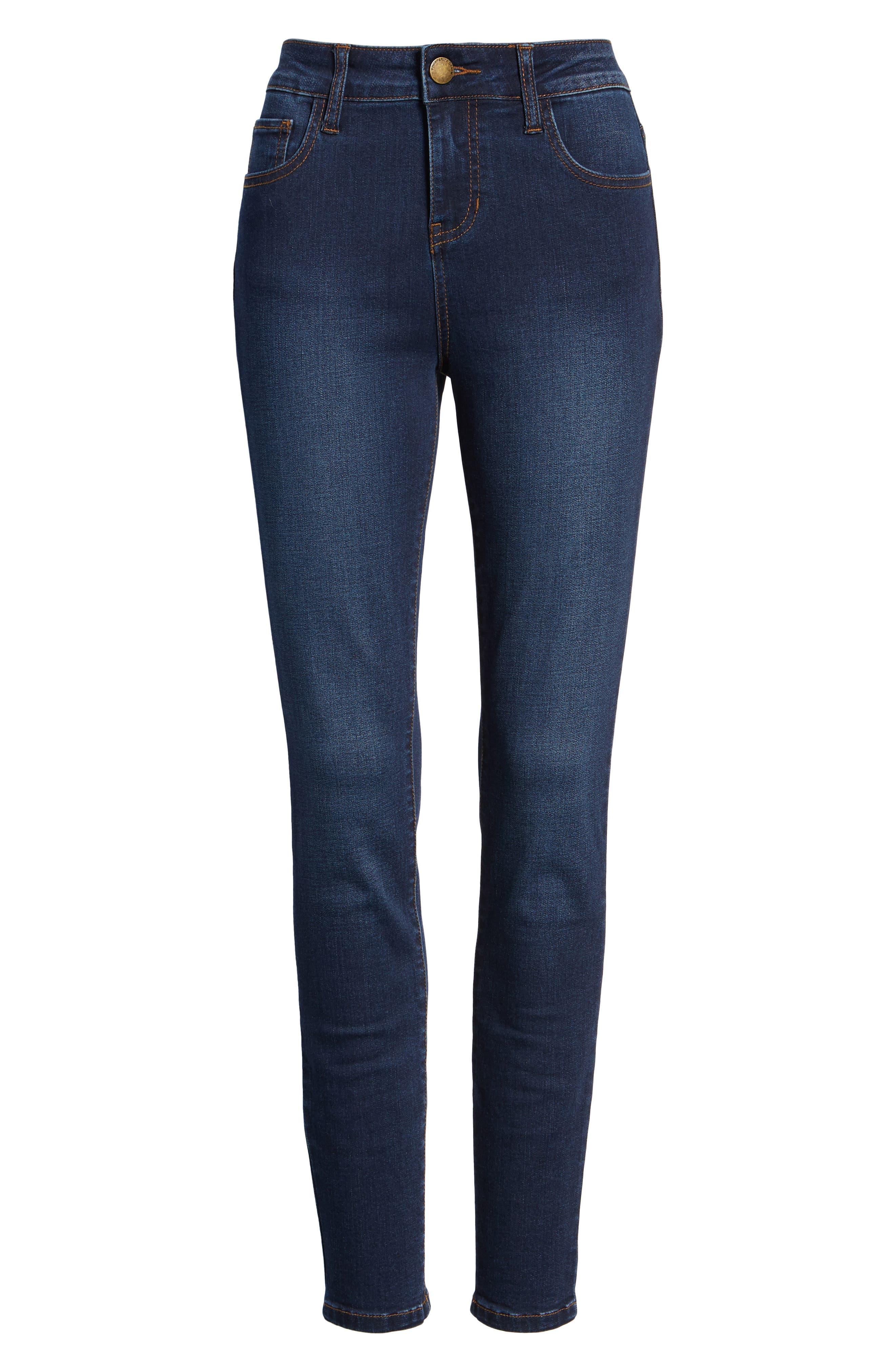 PROSPERITY DENIM, High Waist Skinny Jeans, Alternate thumbnail 7, color, DARK