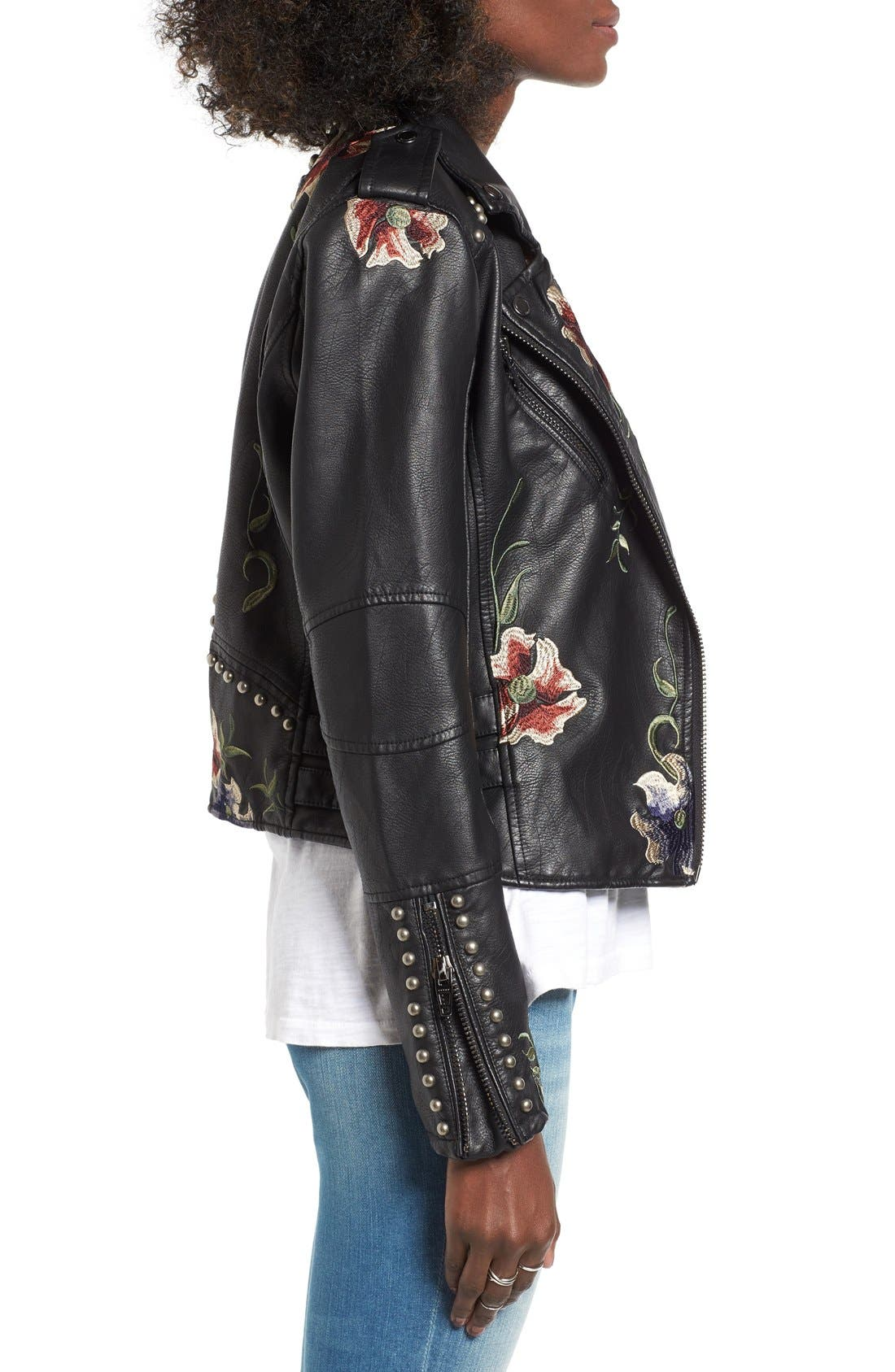 BLANKNYC, Embroidered Faux Leather Moto Jacket, Alternate thumbnail 6, color, 001