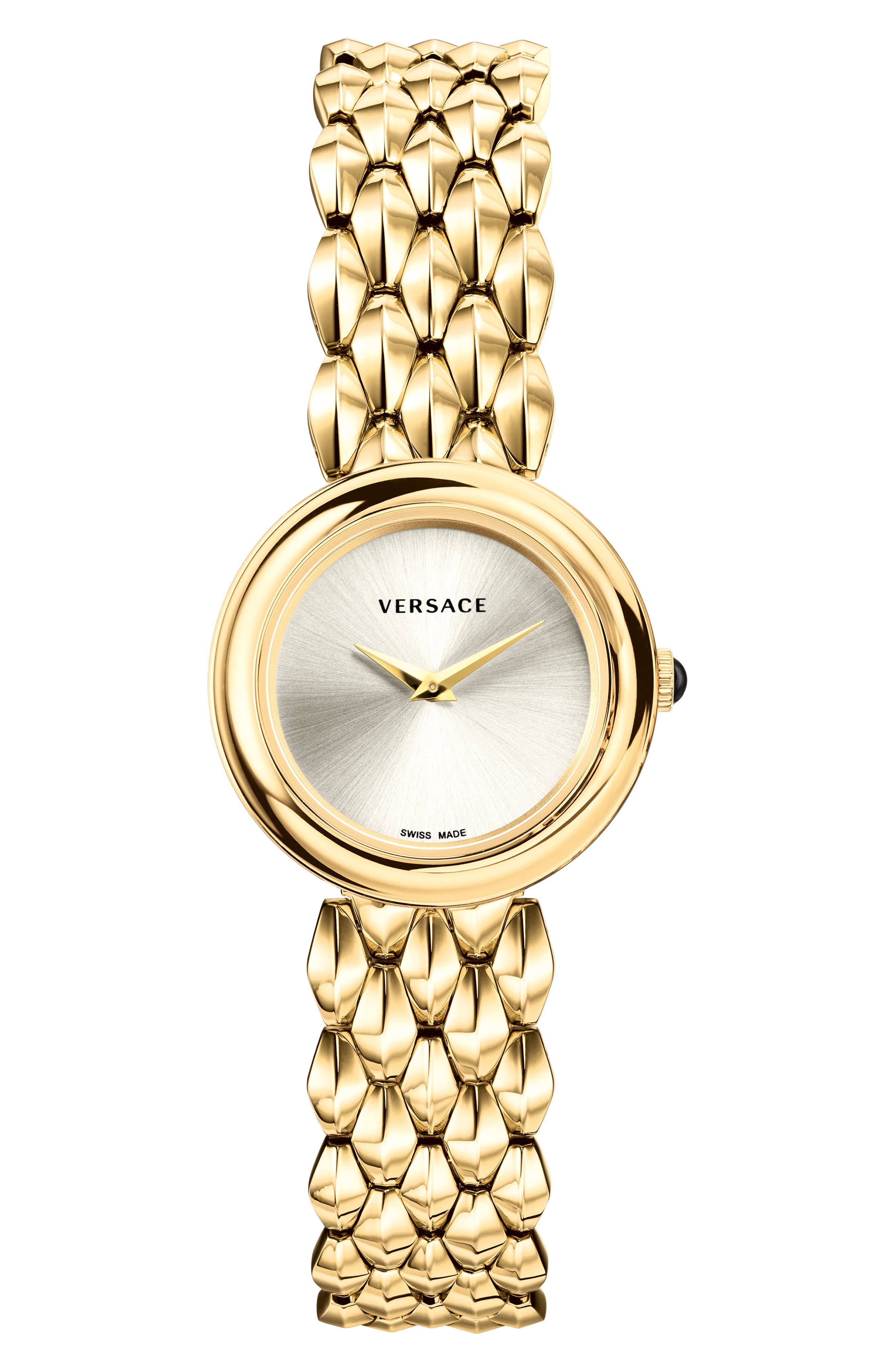 VERSACE, V-Flare Bracelet Watch, 28mm, Main thumbnail 1, color, GOLD/ SILVER/ GOLD