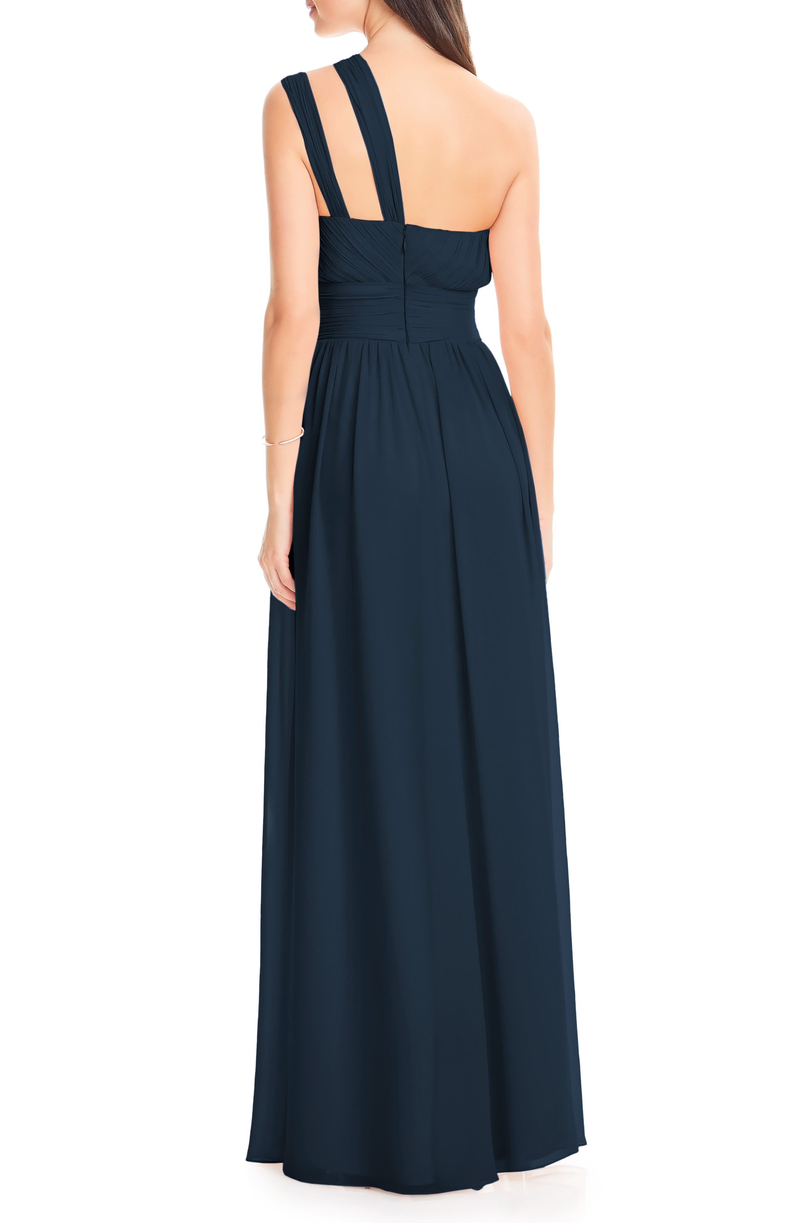 #LEVKOFF, Chiffon One-Shoulder Gown, Alternate thumbnail 2, color, NAVY