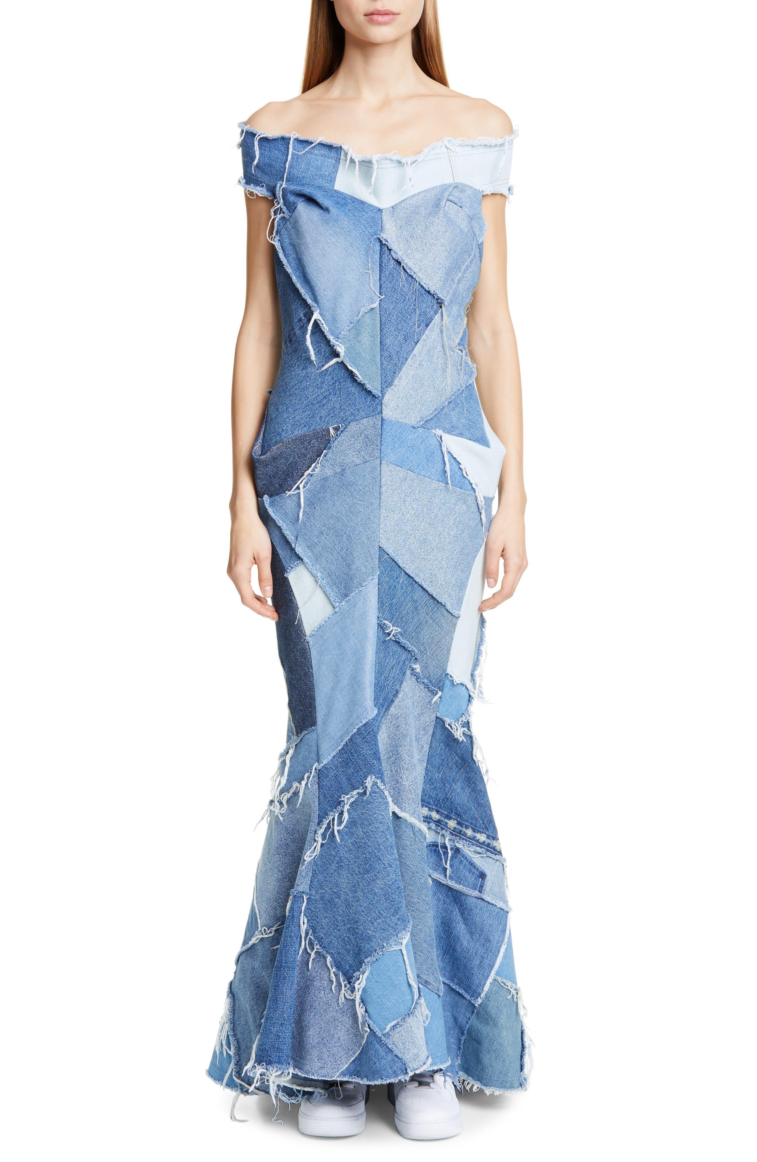 JUNYA WATANABE, Denim Patchwork Off the Shoulder Mermaid Dress, Main thumbnail 1, color, INDIGO