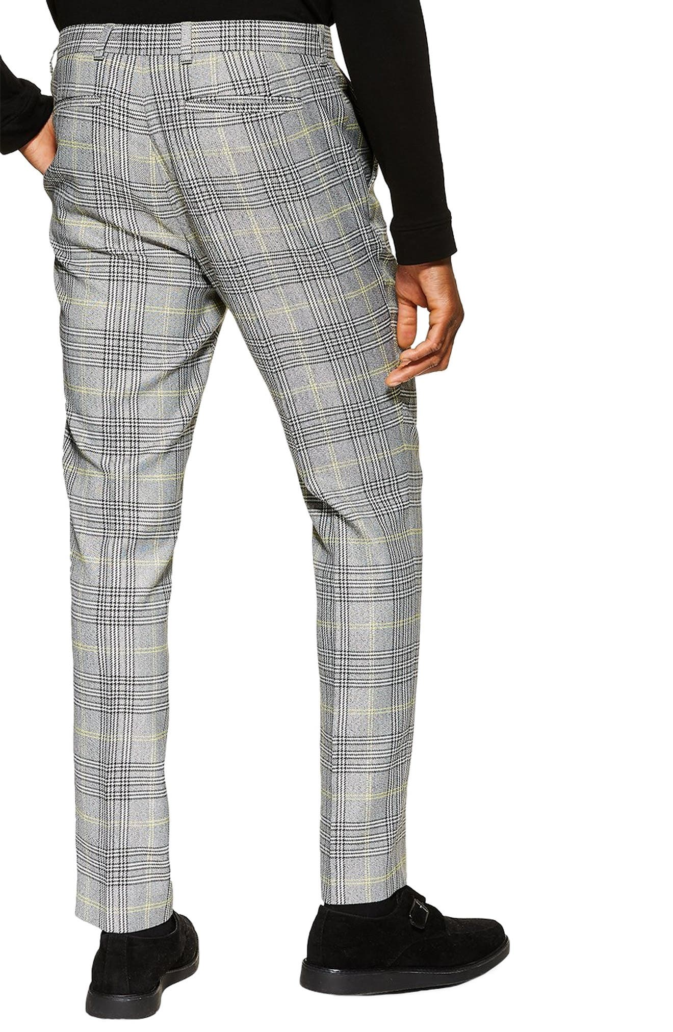 TOPMAN, Check Slim Trousers, Alternate thumbnail 2, color, GREY