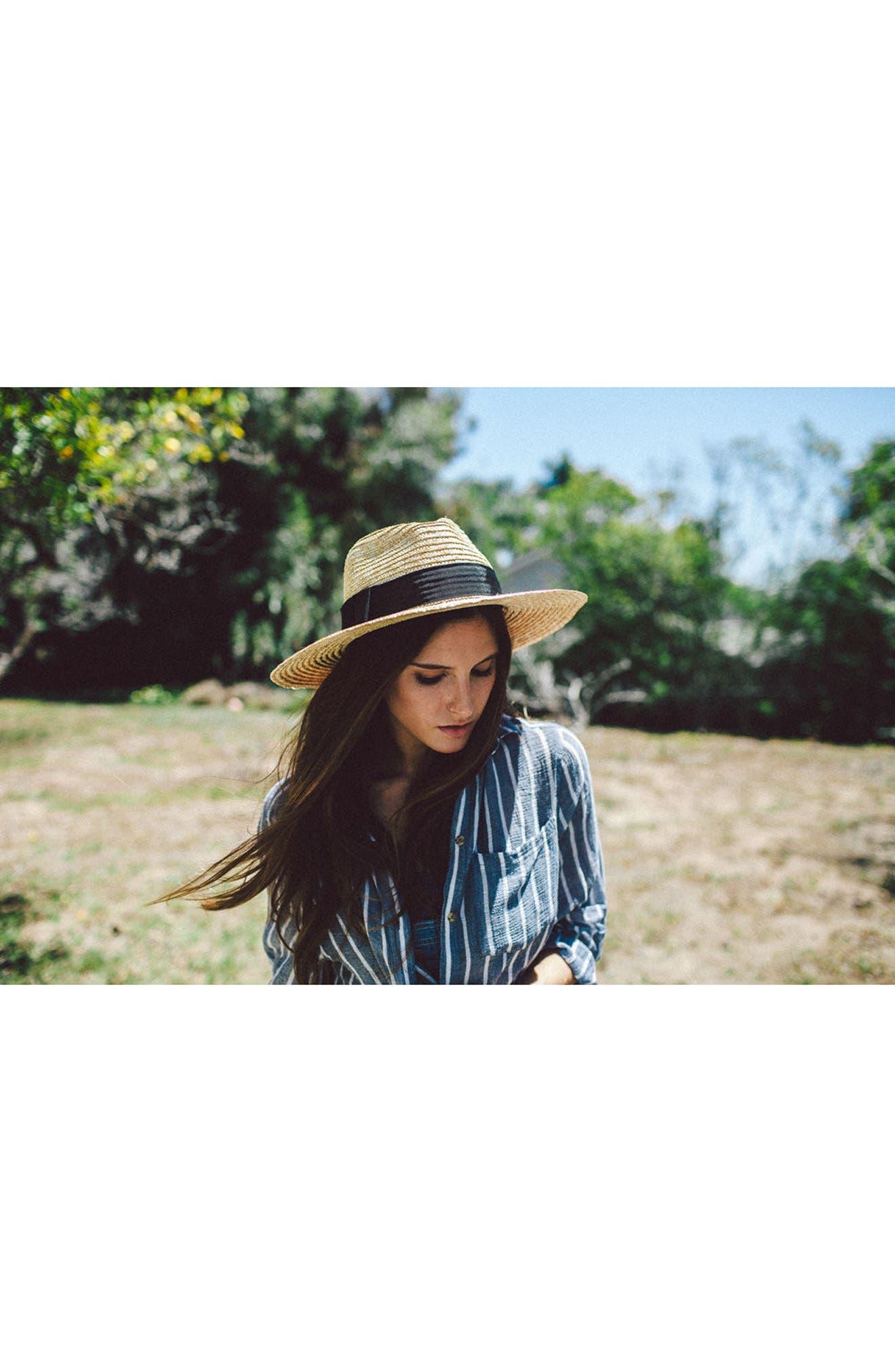 BRIXTON, 'Joanna' Straw Hat, Alternate thumbnail 8, color, HONEY