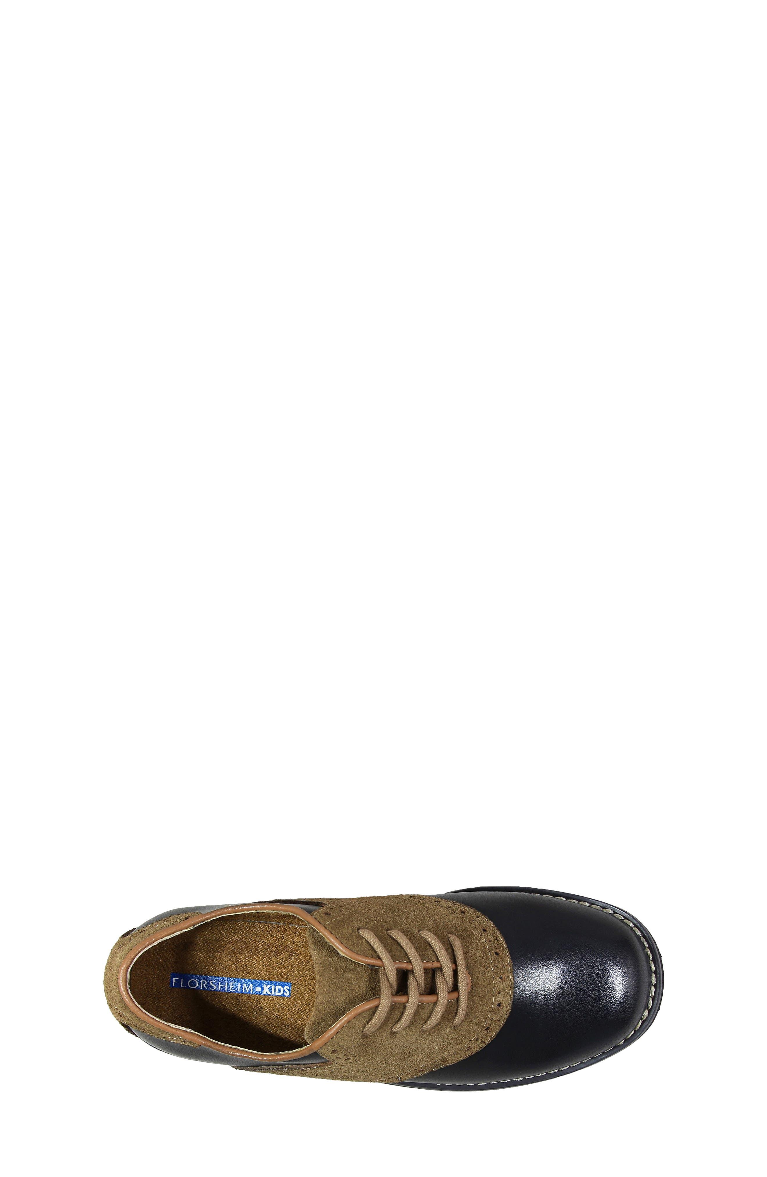 FLORSHEIM, 'Kennett Jr. II' Saddle Shoe, Alternate thumbnail 4, color, SMOOTH BLACK W/ MOCHA SUEDE