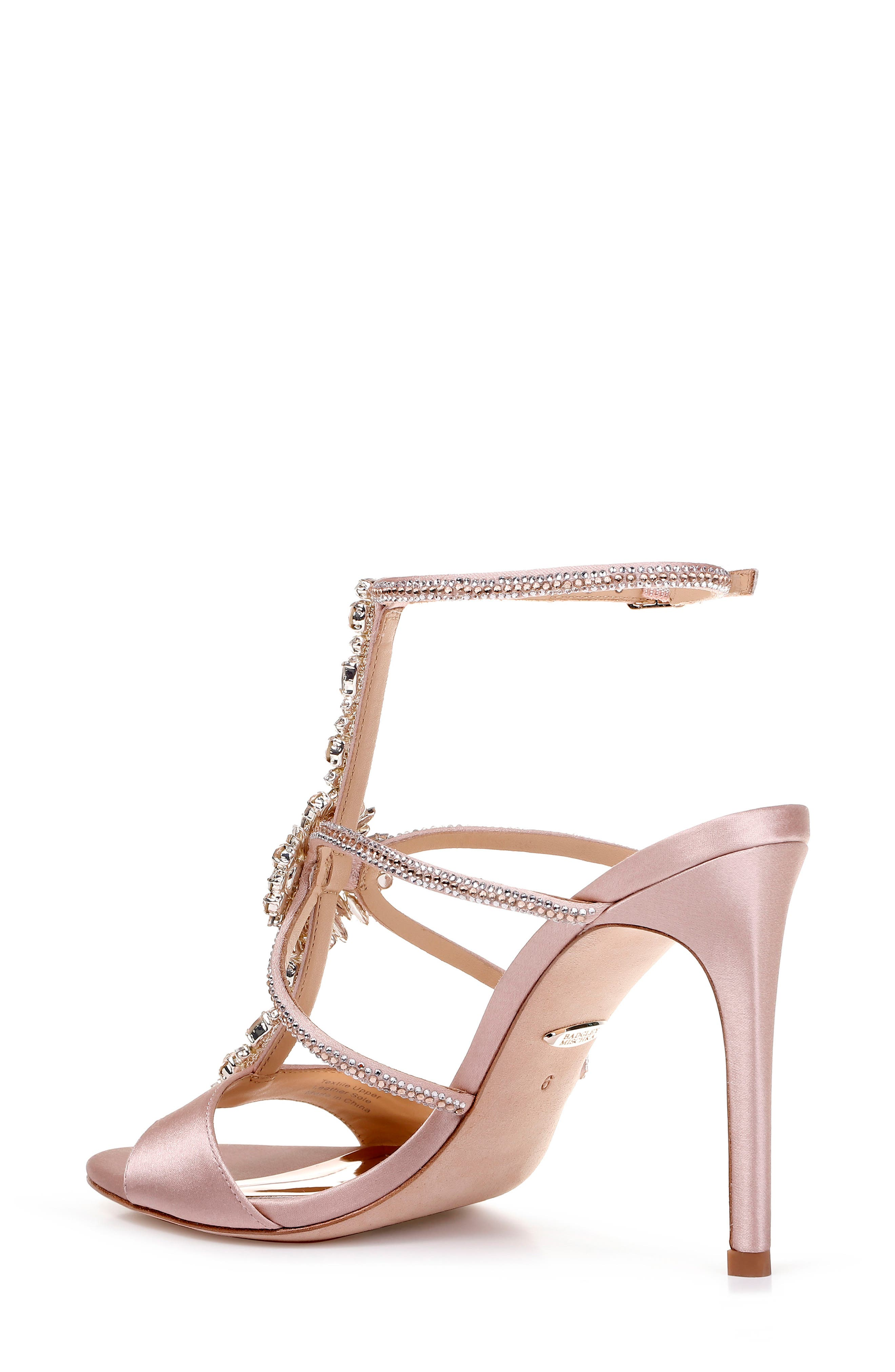 BADGLEY MISCHKA COLLECTION, Badgley Mischka Faye Ankle Strap Sandal, Alternate thumbnail 2, color, SOFT BLUSH SATIN