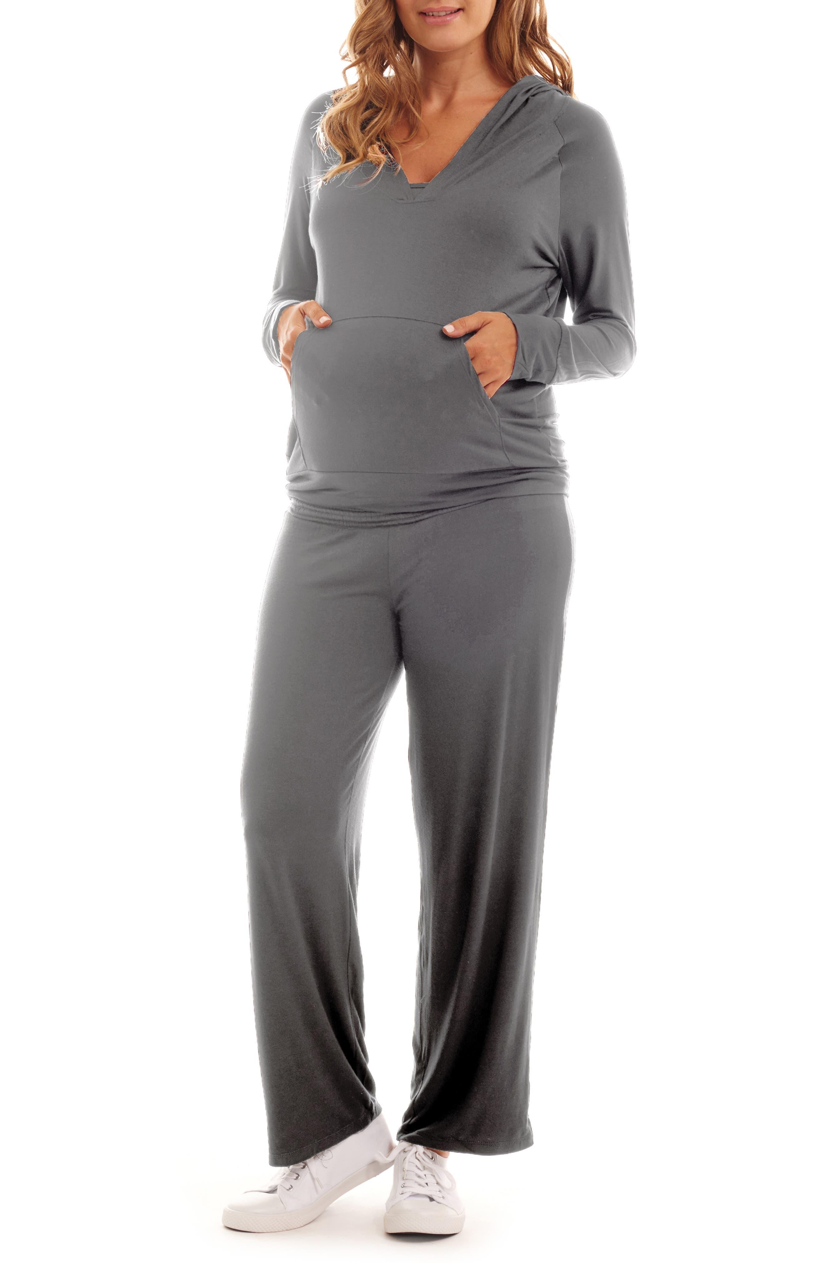 EVERLY GREY, Irene Maternity/Nursing Hoodie & Pants Set, Main thumbnail 1, color, CHARCOAL