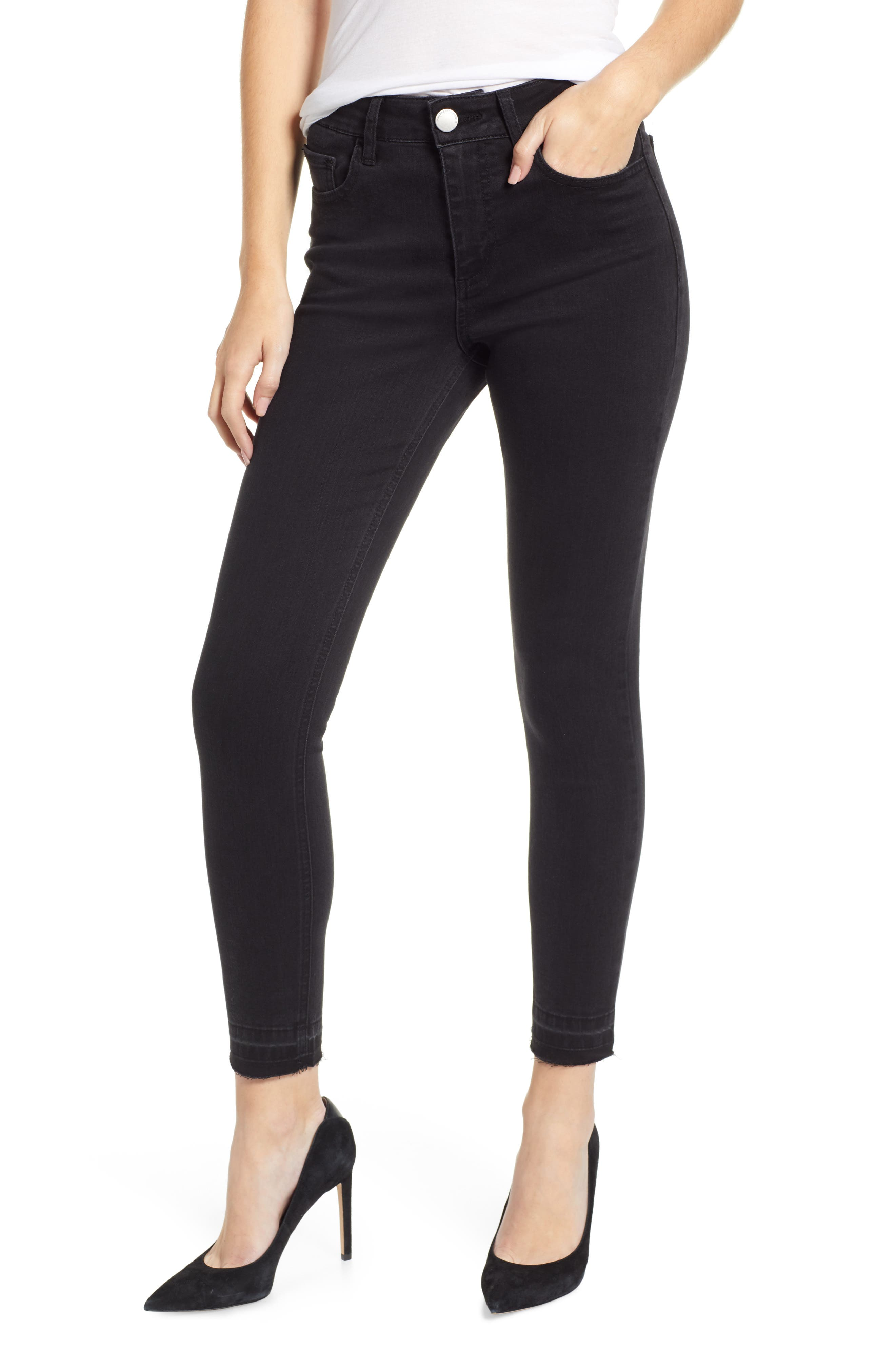 PROSPERITY DENIM, Release Hem Skinny Jeans, Main thumbnail 1, color, BLACK