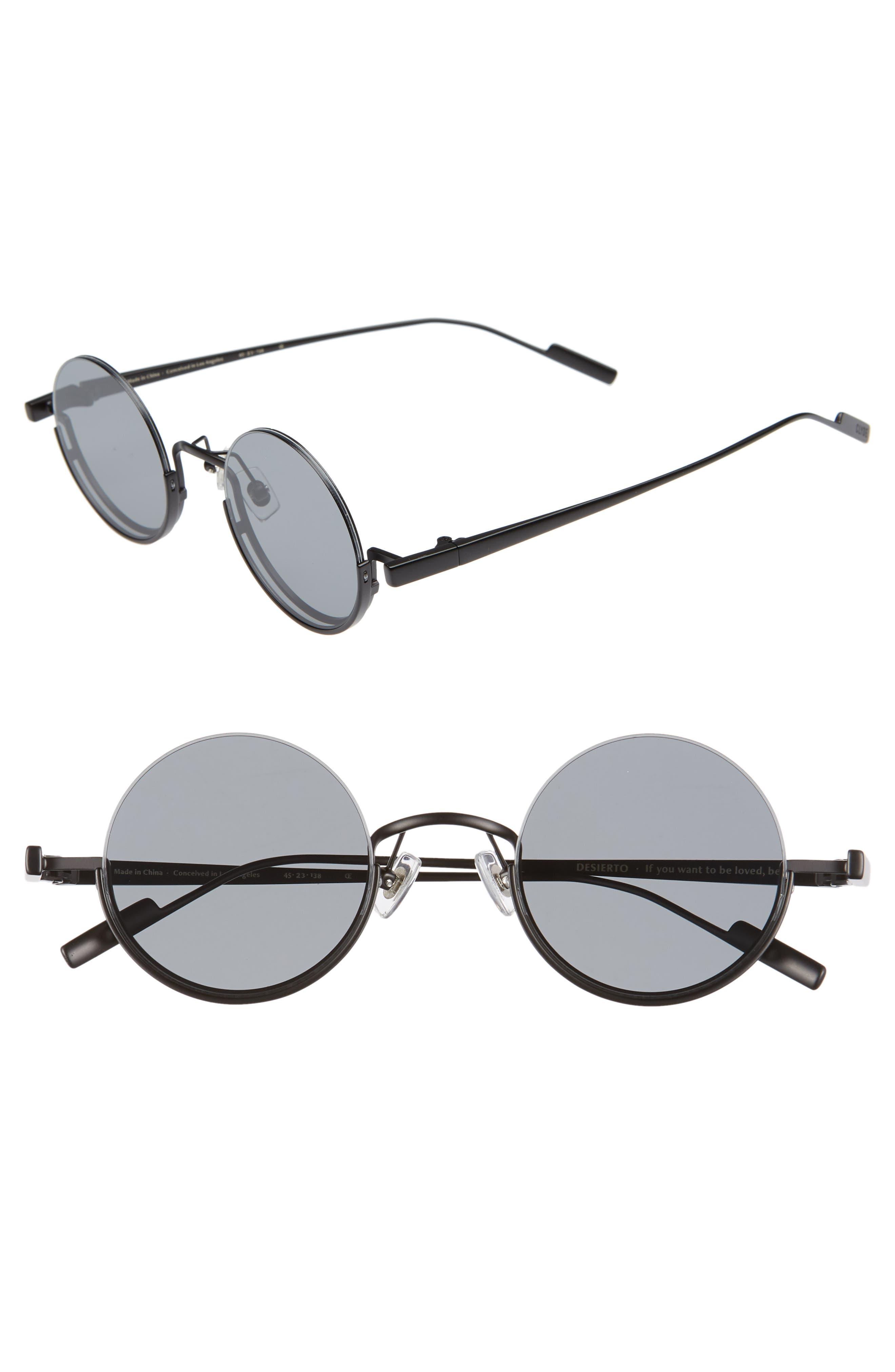 BONNIE CLYDE, Desierto 42mm Round Sunglasses, Main thumbnail 1, color, BLACK