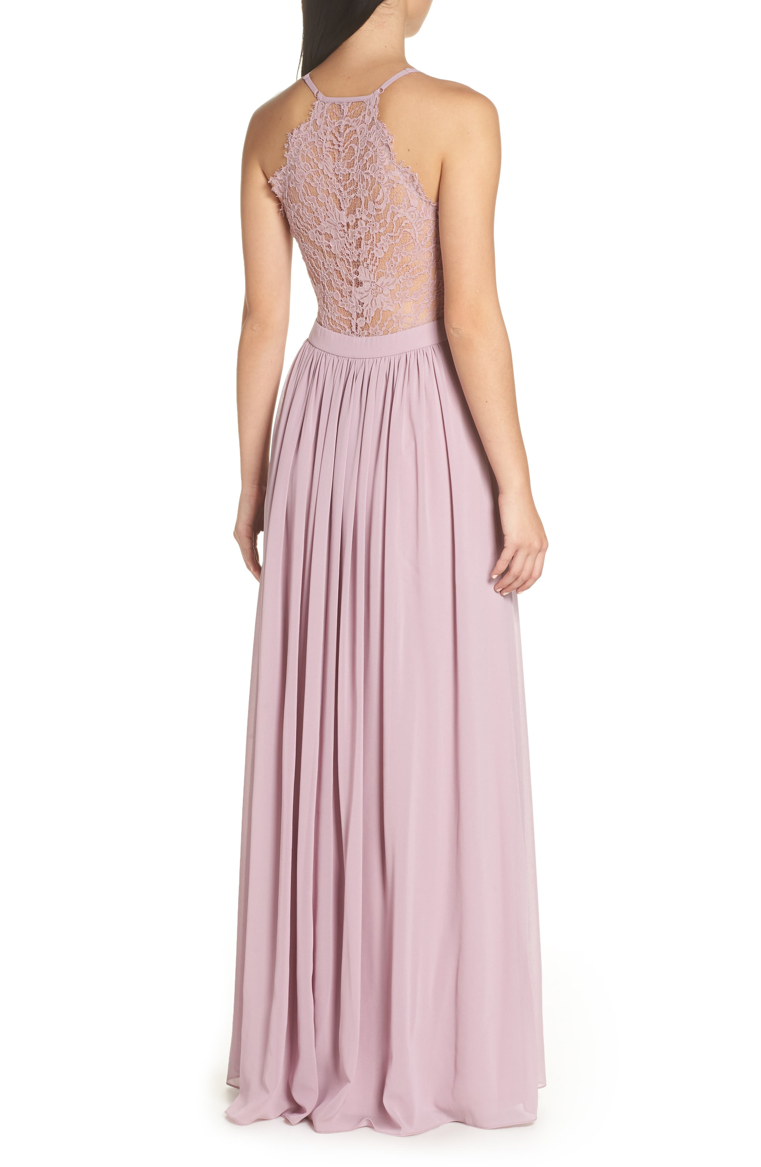 LULUS, Everlasting Beauty Lace Back Chiffon Gown, Alternate thumbnail 2, color, LAVENDER