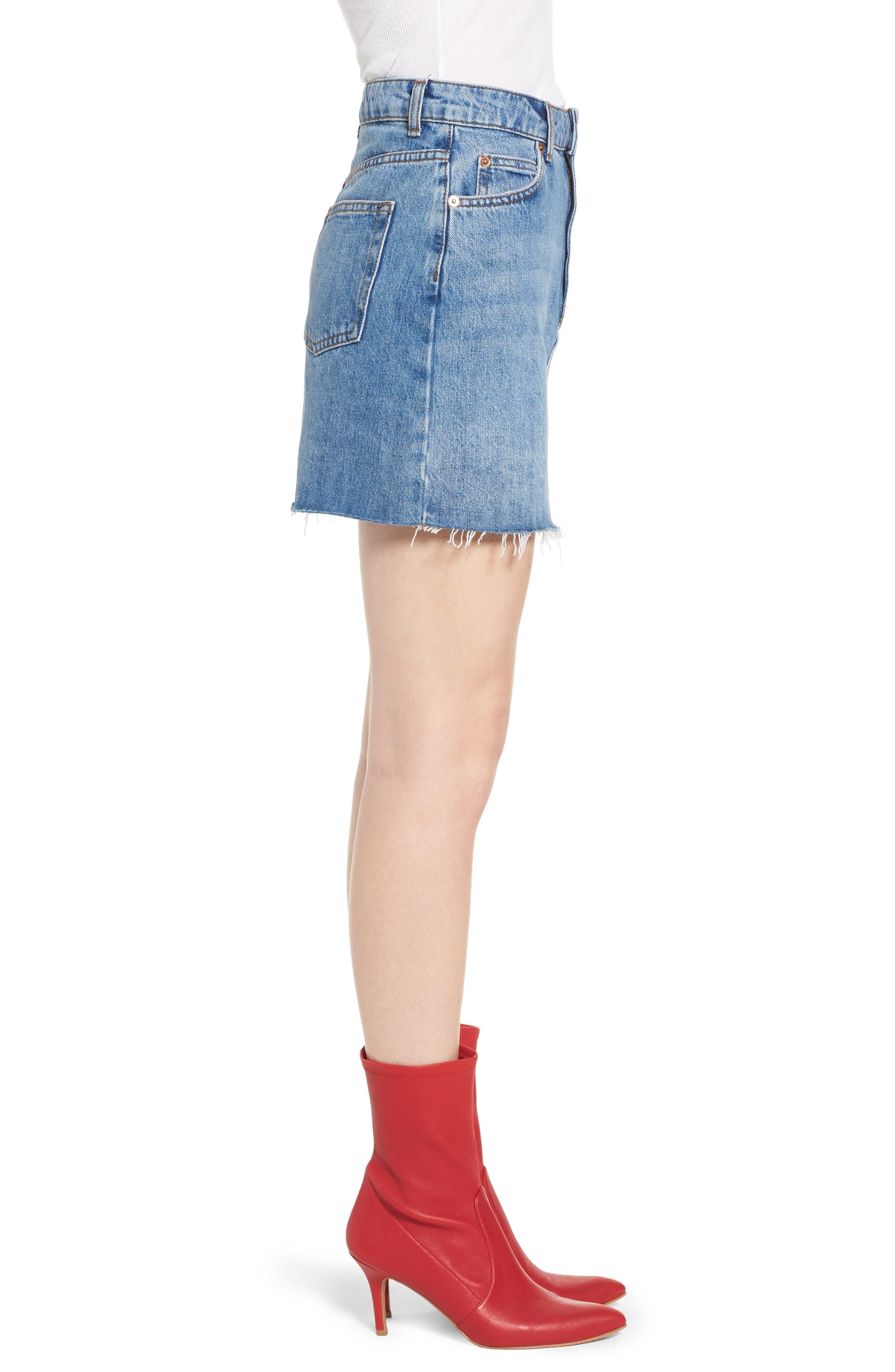 TOPSHOP, Denim Miniskirt, Alternate thumbnail 4, color, MID DENIM