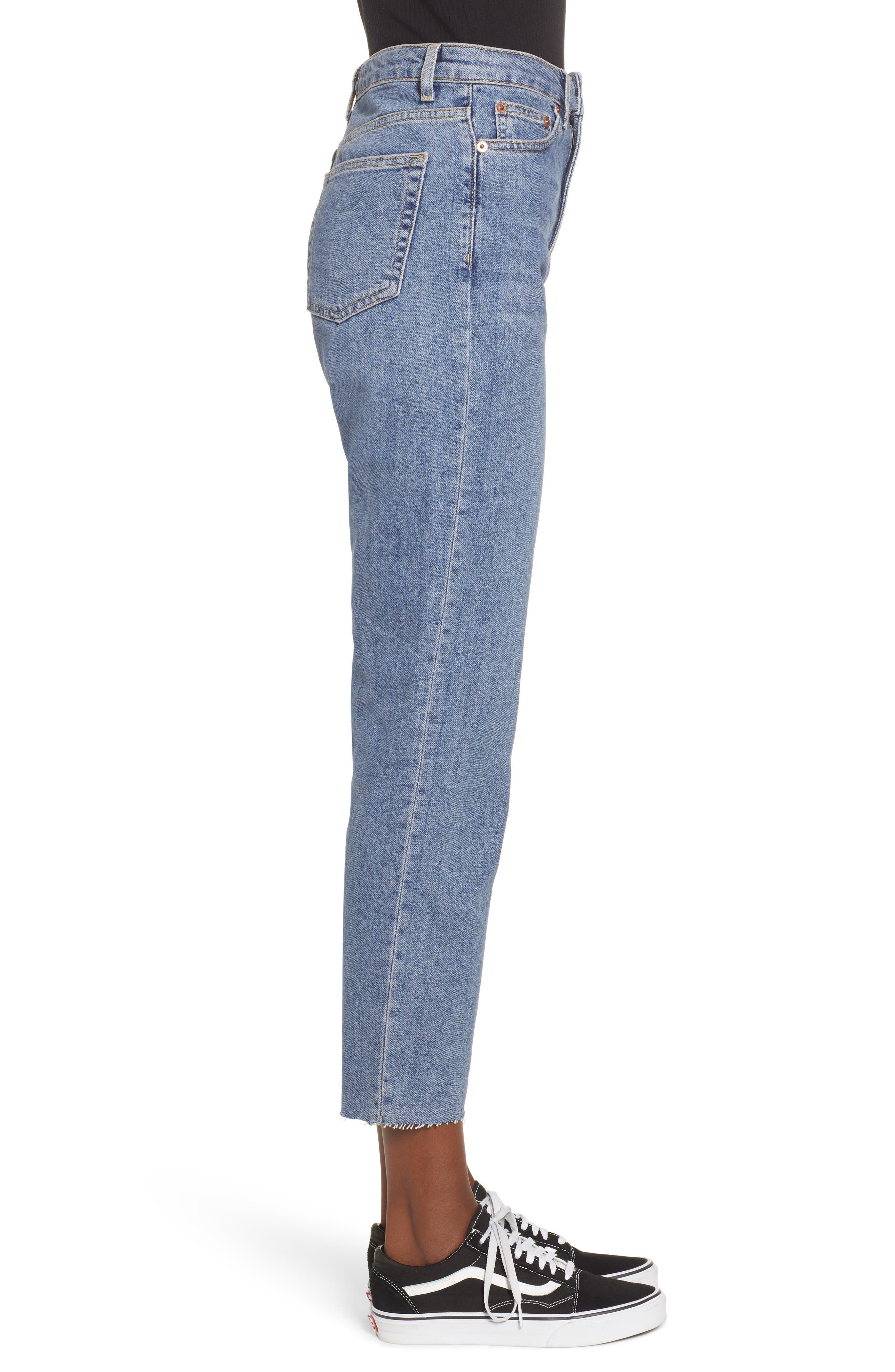 TOPSHOP, Raw Hem Straight Leg Jeans, Alternate thumbnail 4, color, MID BLUE