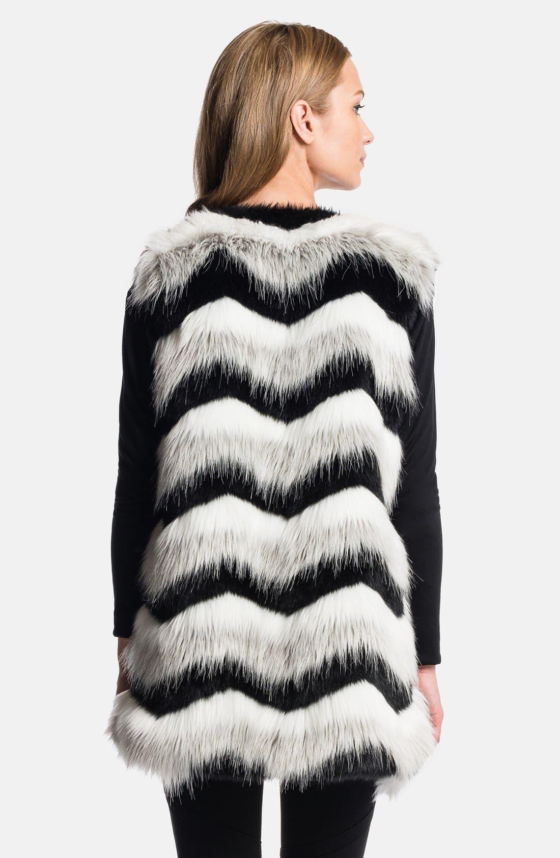 1.STATE, Chevron Faux Fur Vest, Alternate thumbnail 2, color, 060