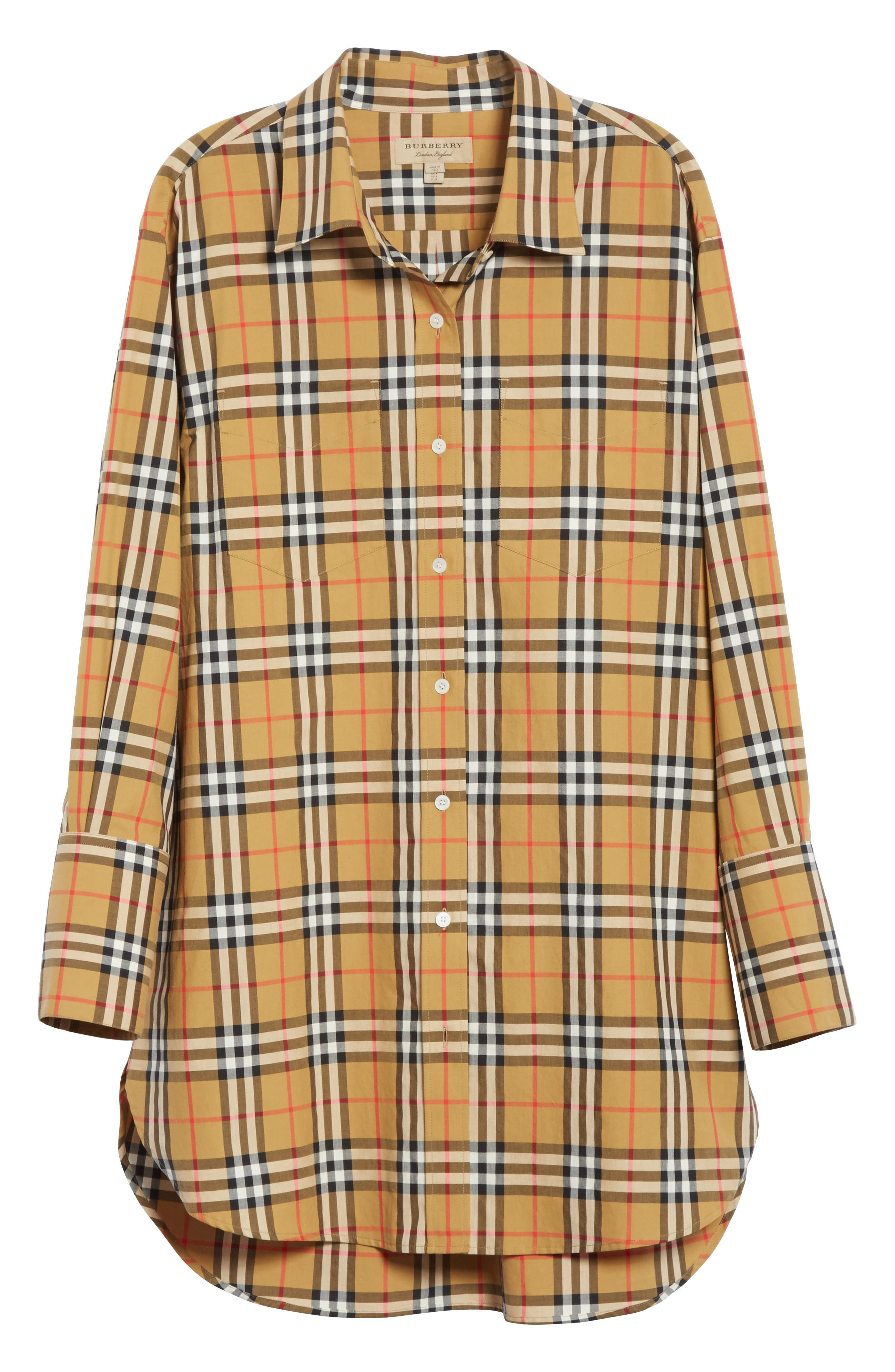 BURBERRY, Redwing Vintage Check Cotton Shirt, Alternate thumbnail 7, color, ANTIQUE YELLOW