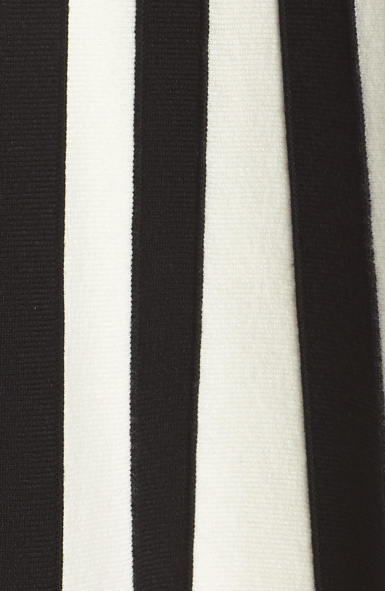 1901, Bow Front Sweater Dress, Alternate thumbnail 6, color, BLACK WHITE STRIPE