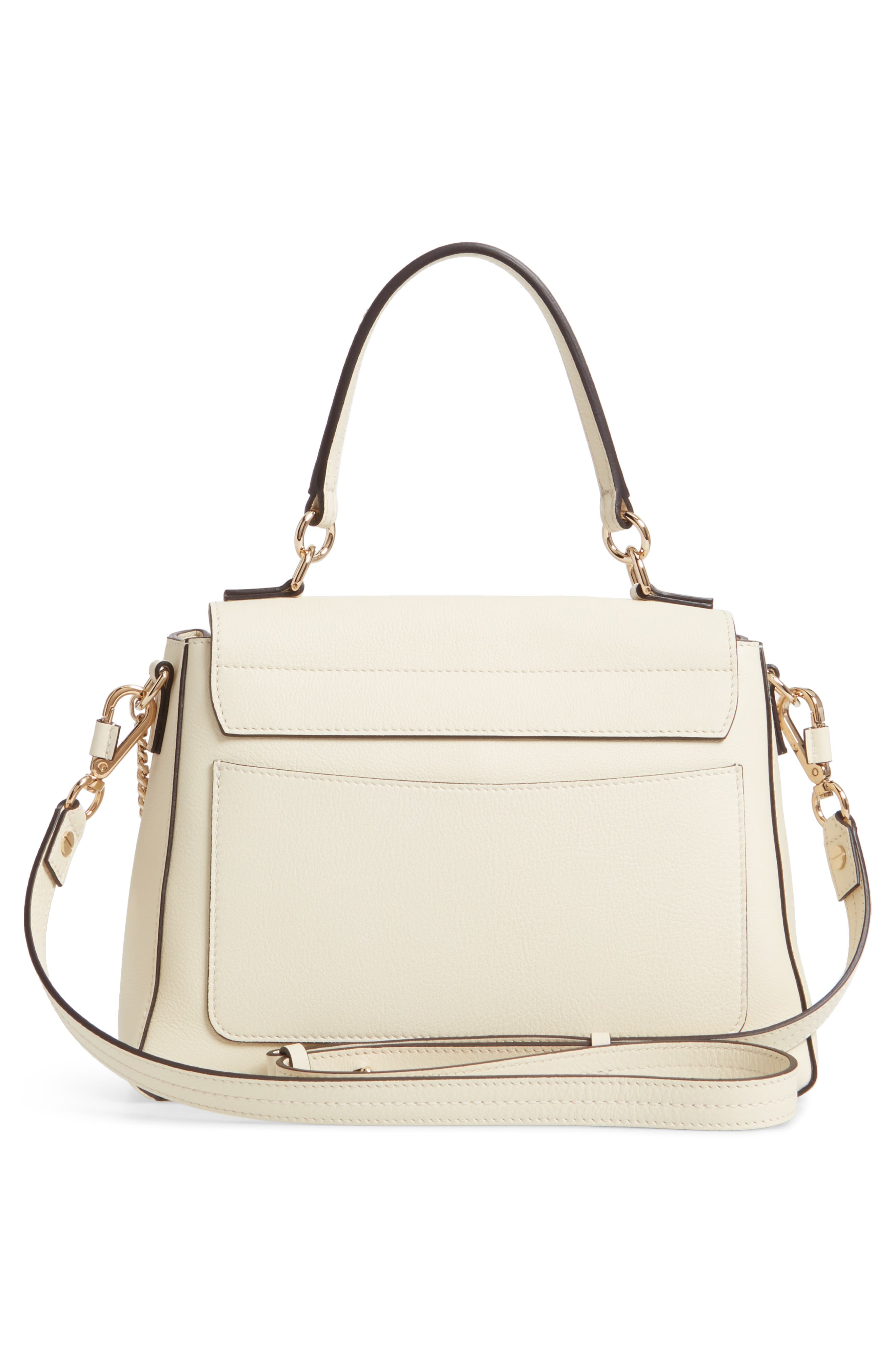 CHLOÉ, Small Faye Day Leather Shoulder Bag, Alternate thumbnail 3, color, OFF WHITE