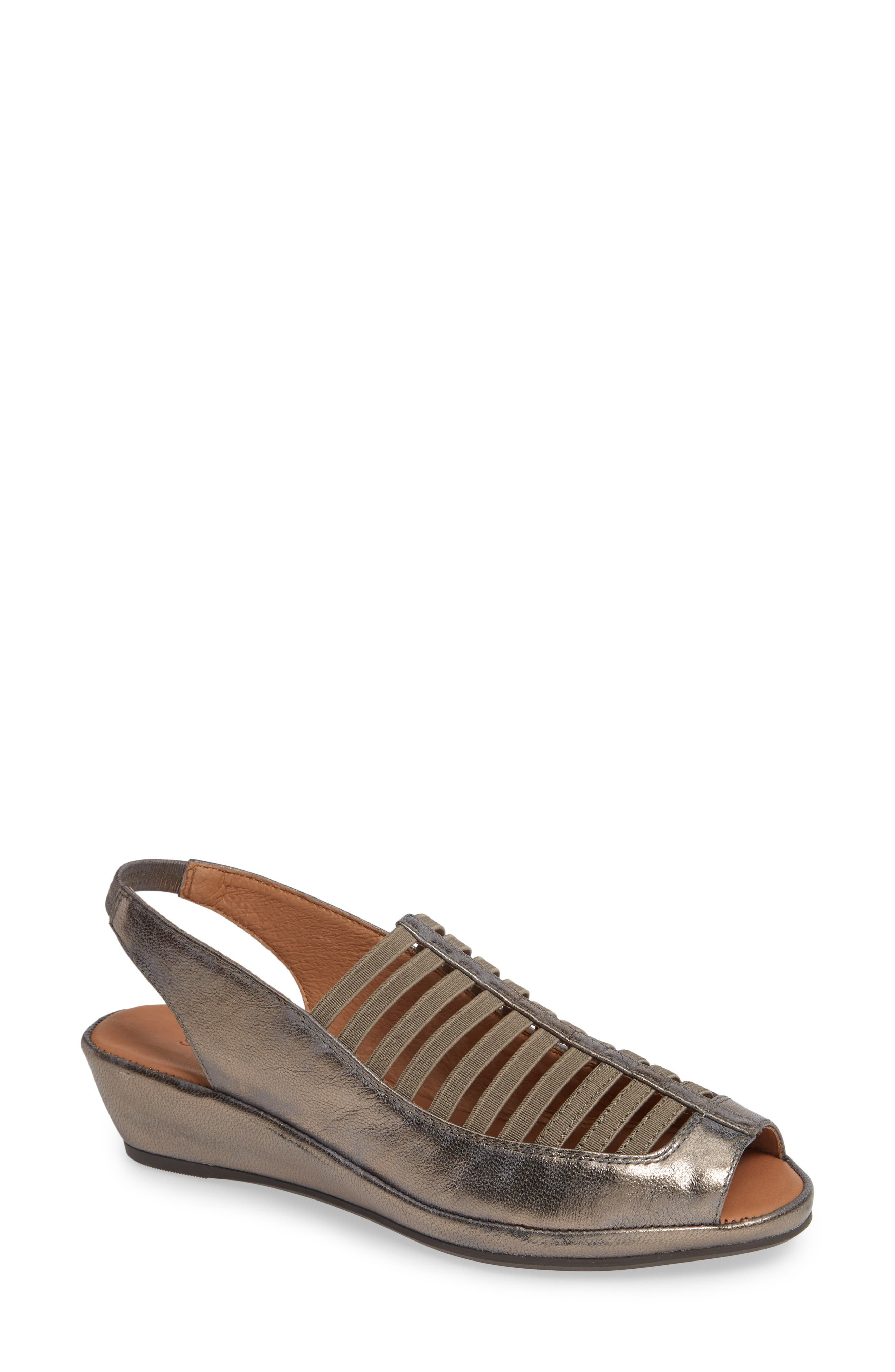 GENTLE SOULS BY KENNETH COLE, 'Lee' Sandal, Main thumbnail 1, color, PEWTER METALLIC LEATHER