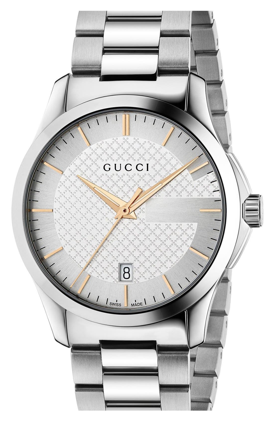 GUCCI, 'G Timeless' Bracelet Watch, 38mm, Main thumbnail 1, color, SILVER