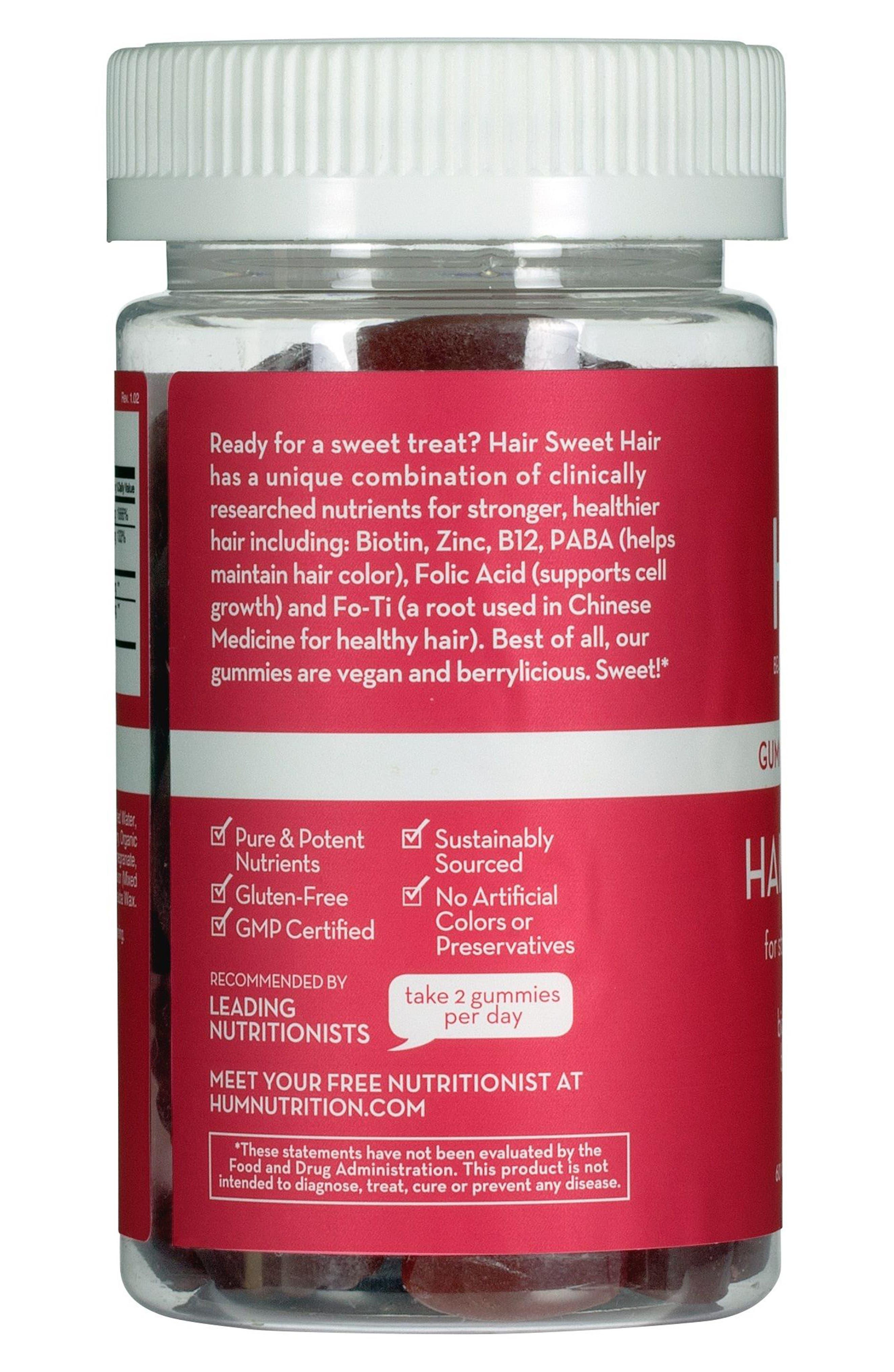 HUM NUTRITION, Hair Sweet Hair Gummies Supplement for Healthy Hair, Alternate thumbnail 4, color, NO COLOR