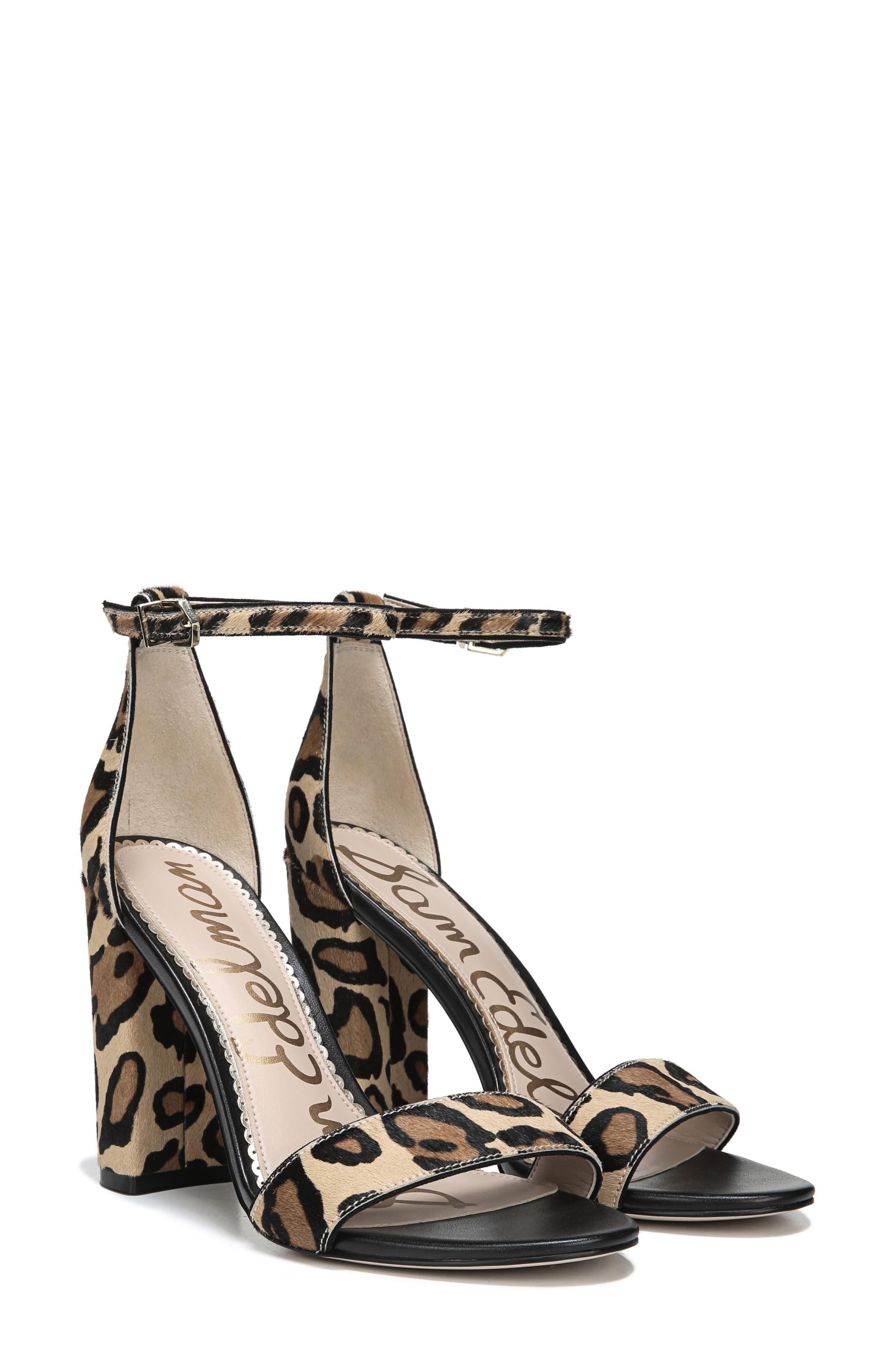 SAM EDELMAN Yaro Ankle Strap Sandal, Main, color, NEW NUDE LEOPARD CALF HAIR