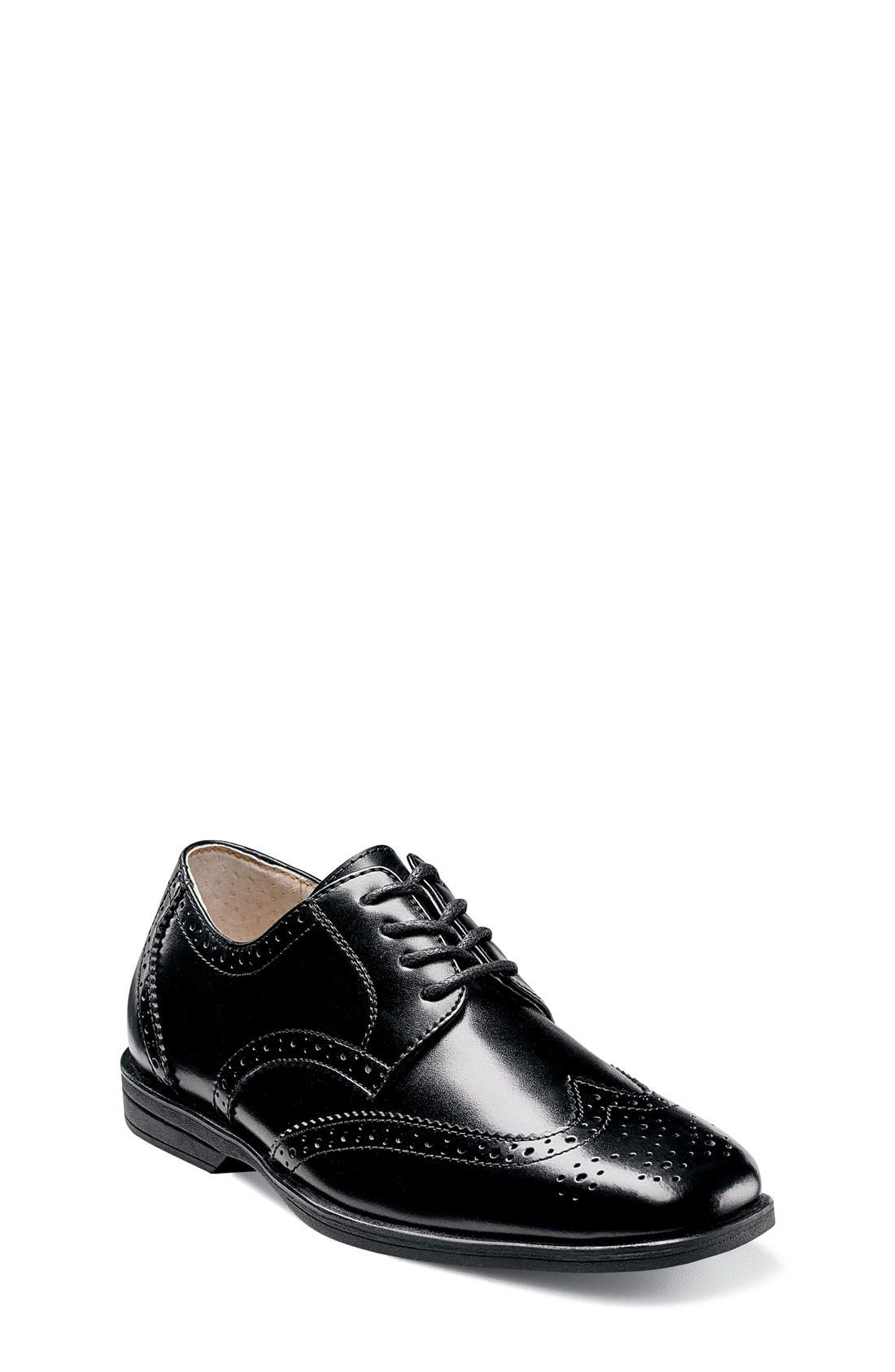 FLORSHEIM, 'Reveal' Wingtip Oxford, Main thumbnail 1, color, BLACK LEATHER
