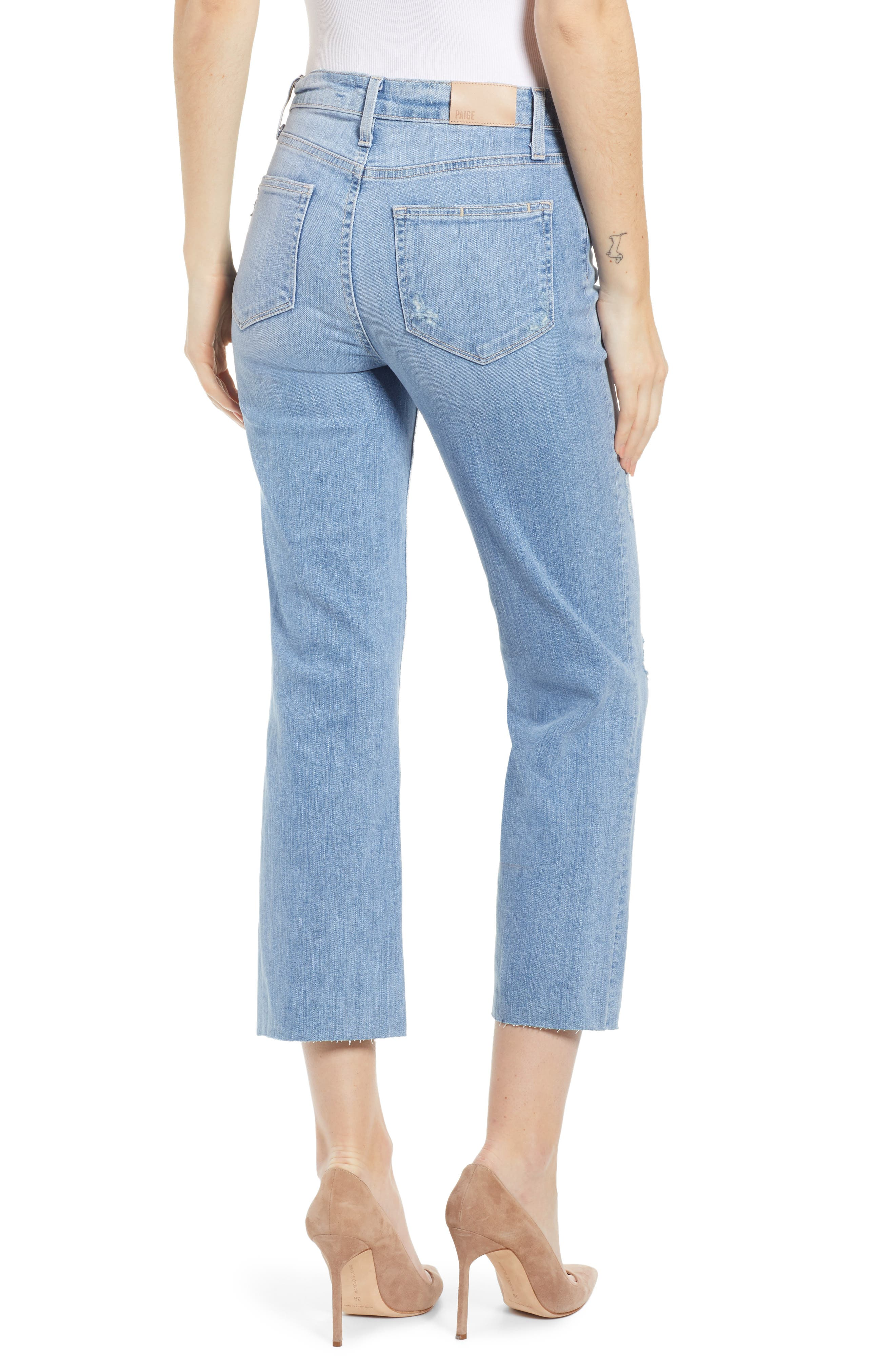PAIGE, Atley Ripped Raw Hem Ankle Flare Jeans, Alternate thumbnail 2, color, FLORETTA DESTRUCTED
