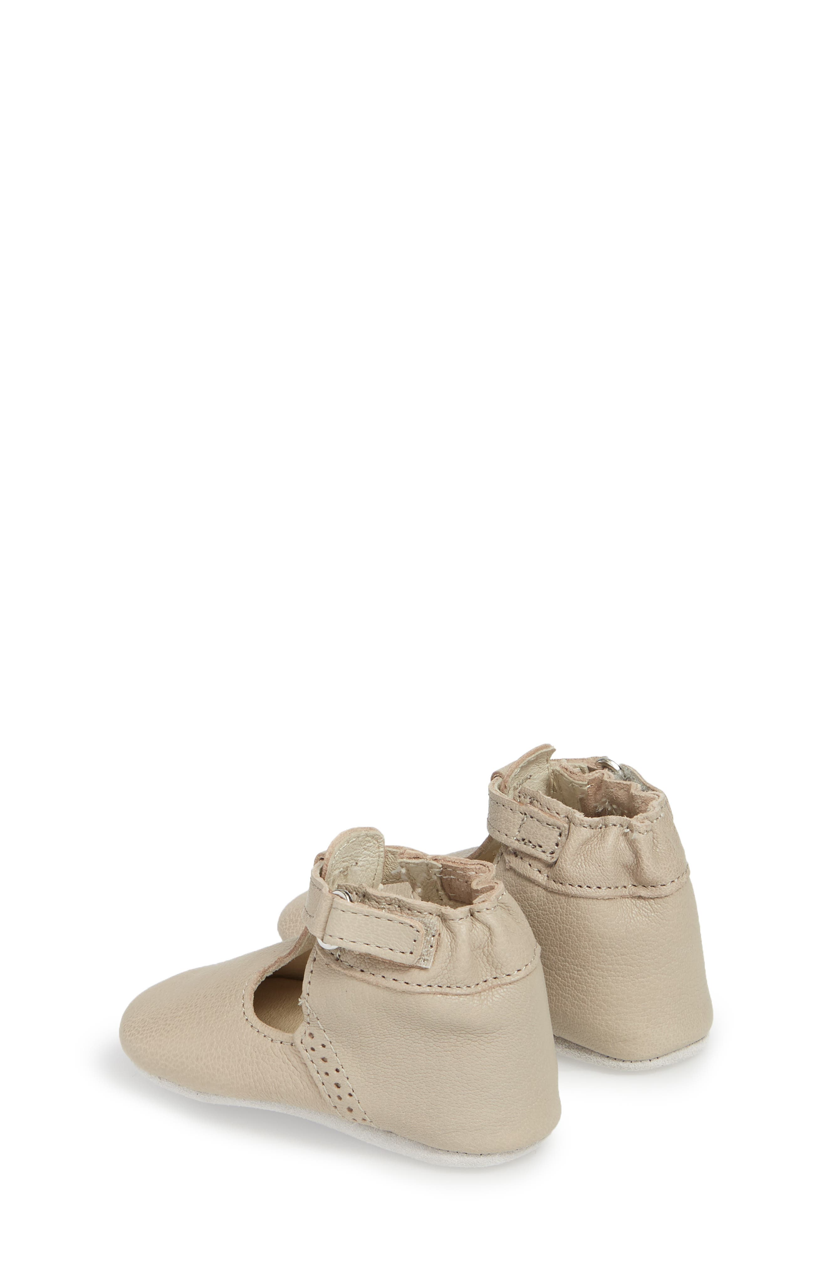 ROBEEZ<SUP>®</SUP>, Penny T-Strap Mary Jane Crib Shoe, Alternate thumbnail 2, color, TAUPE