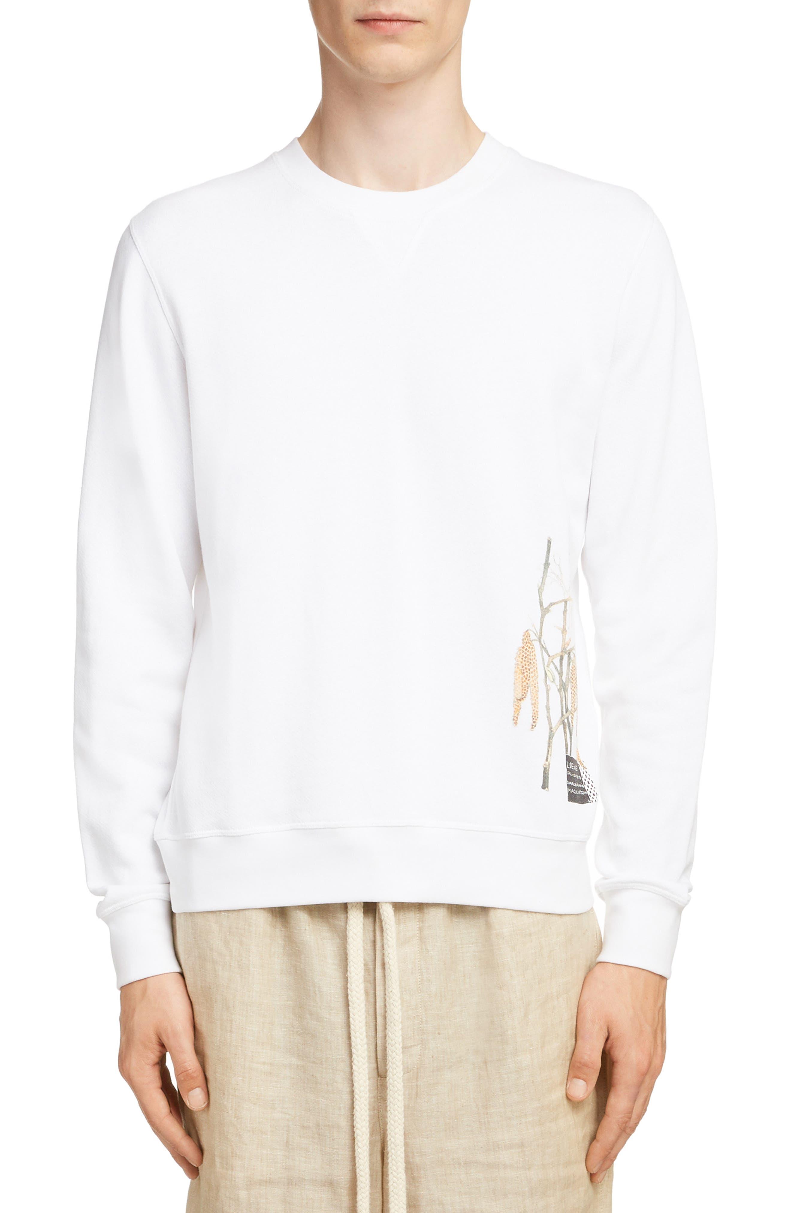 LOEWE Charles Rennie Mackintosh Collection Botanical Print Sweatshirt, Main, color, 2100-WHITE