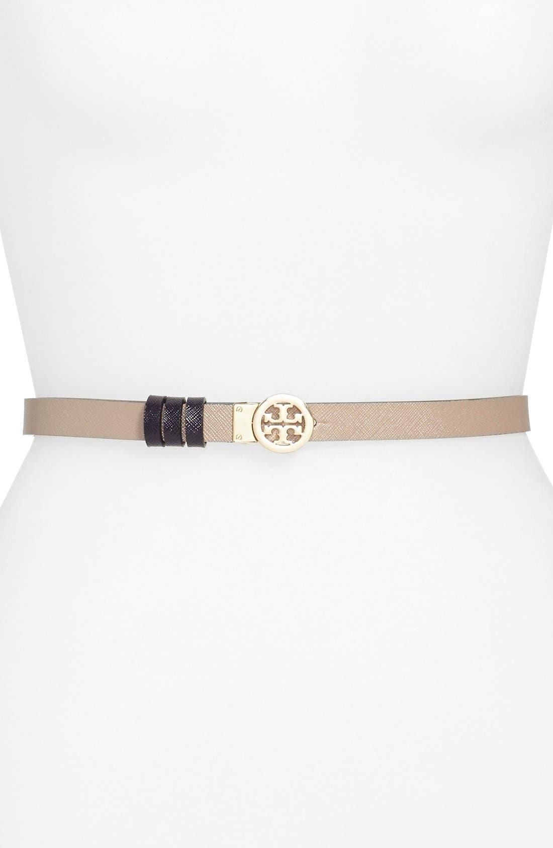 TORY BURCH Rotating Logo Skinny Leather Belt, Main, color, 024