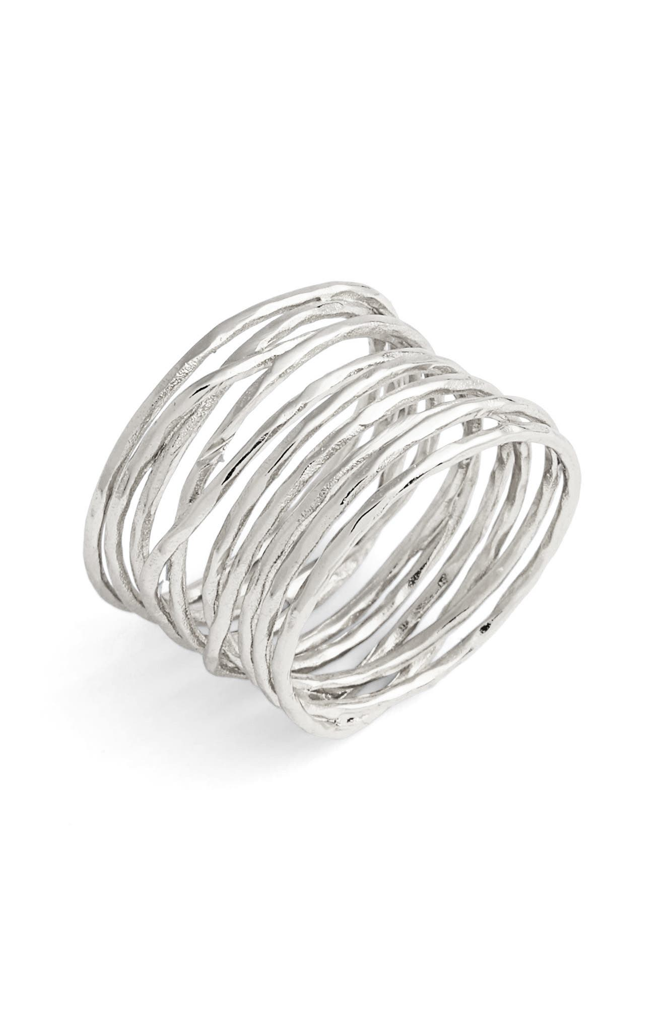 GORJANA 'Lola' Coil Ring, Main, color, SILVER