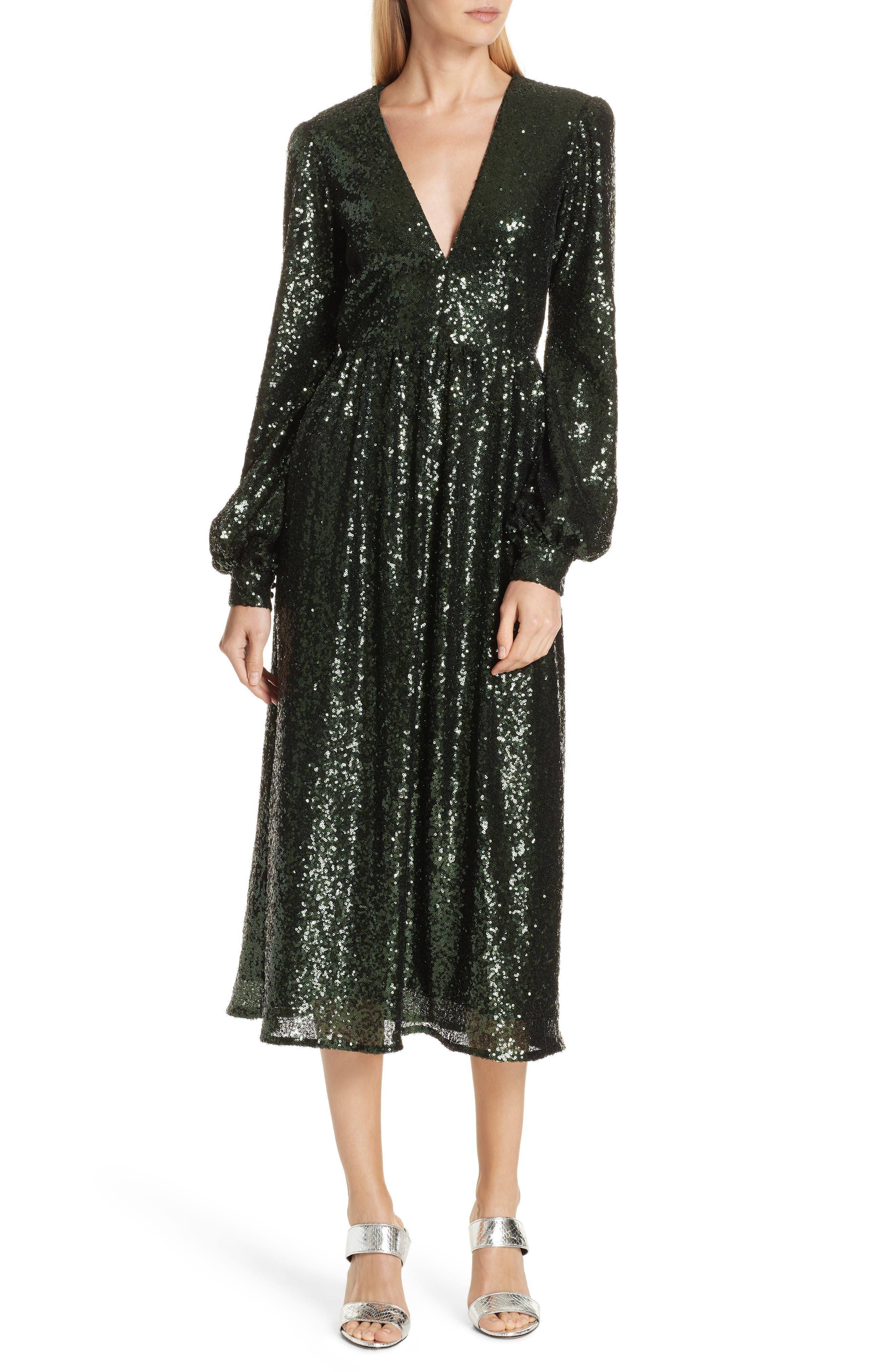 SALONI Camille Sequin Midi Dress, Main, color, DARK GREEN