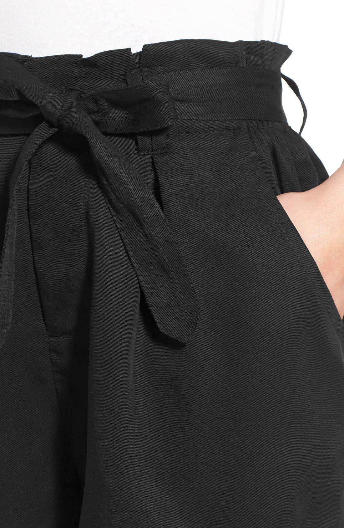 CHLOE & KATIE, Paperbag Shorts, Alternate thumbnail 4, color, 001