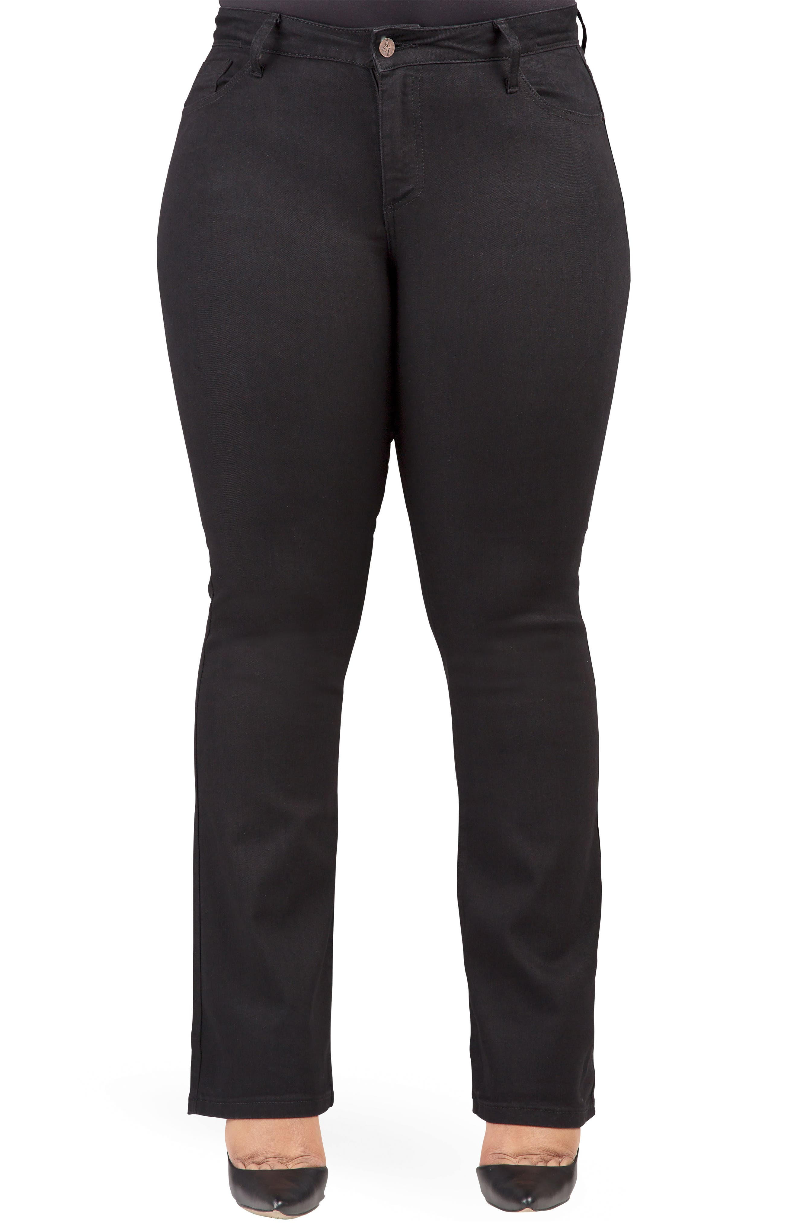 POETIC JUSTICE, Scarlett Slim Bootcut Curvy Fit Jeans, Main thumbnail 1, color, RINSE BLACK