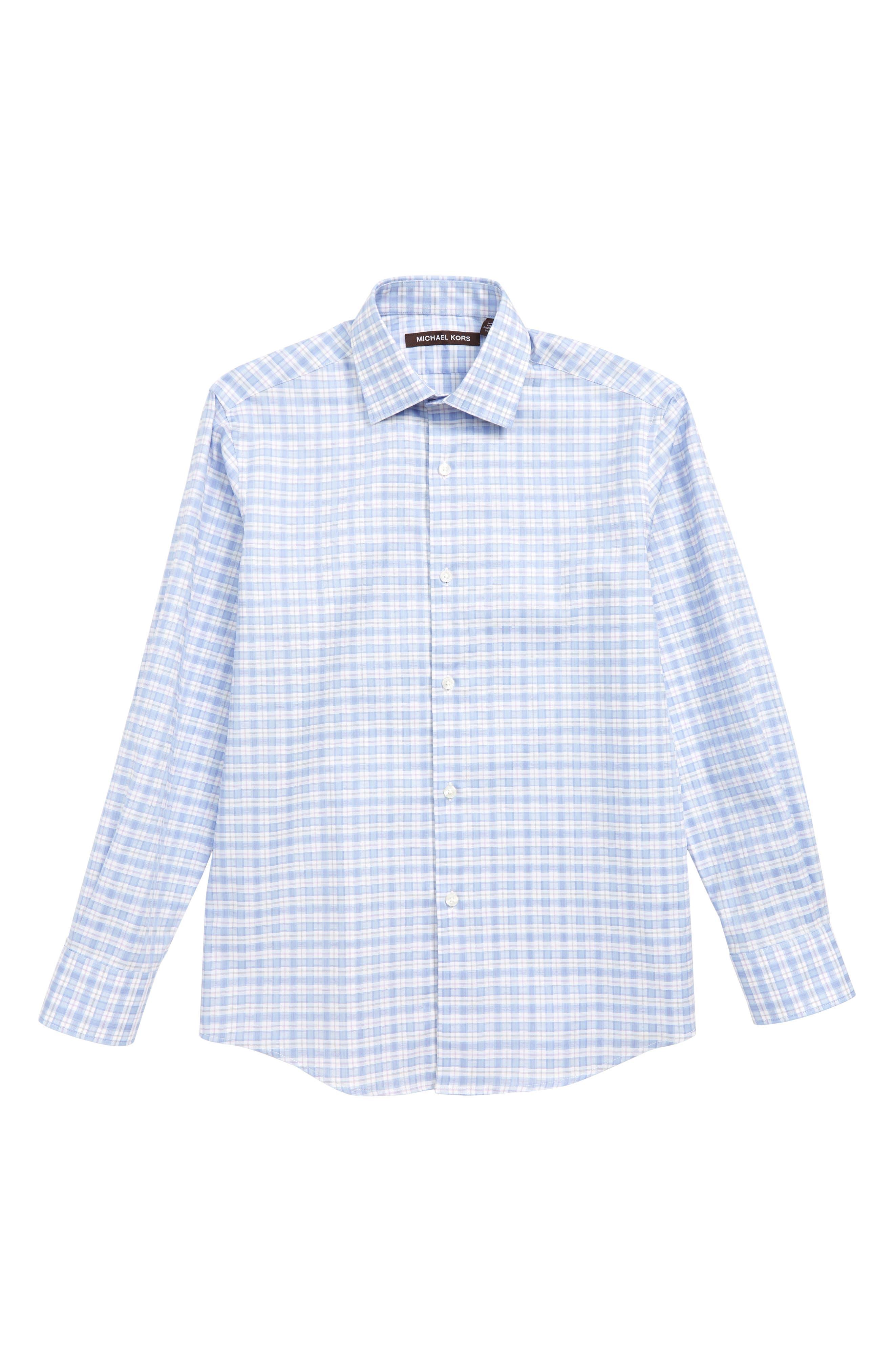 MICHAEL KORS, Plaid Dress Shirt, Main thumbnail 1, color, BLUE/ PINK
