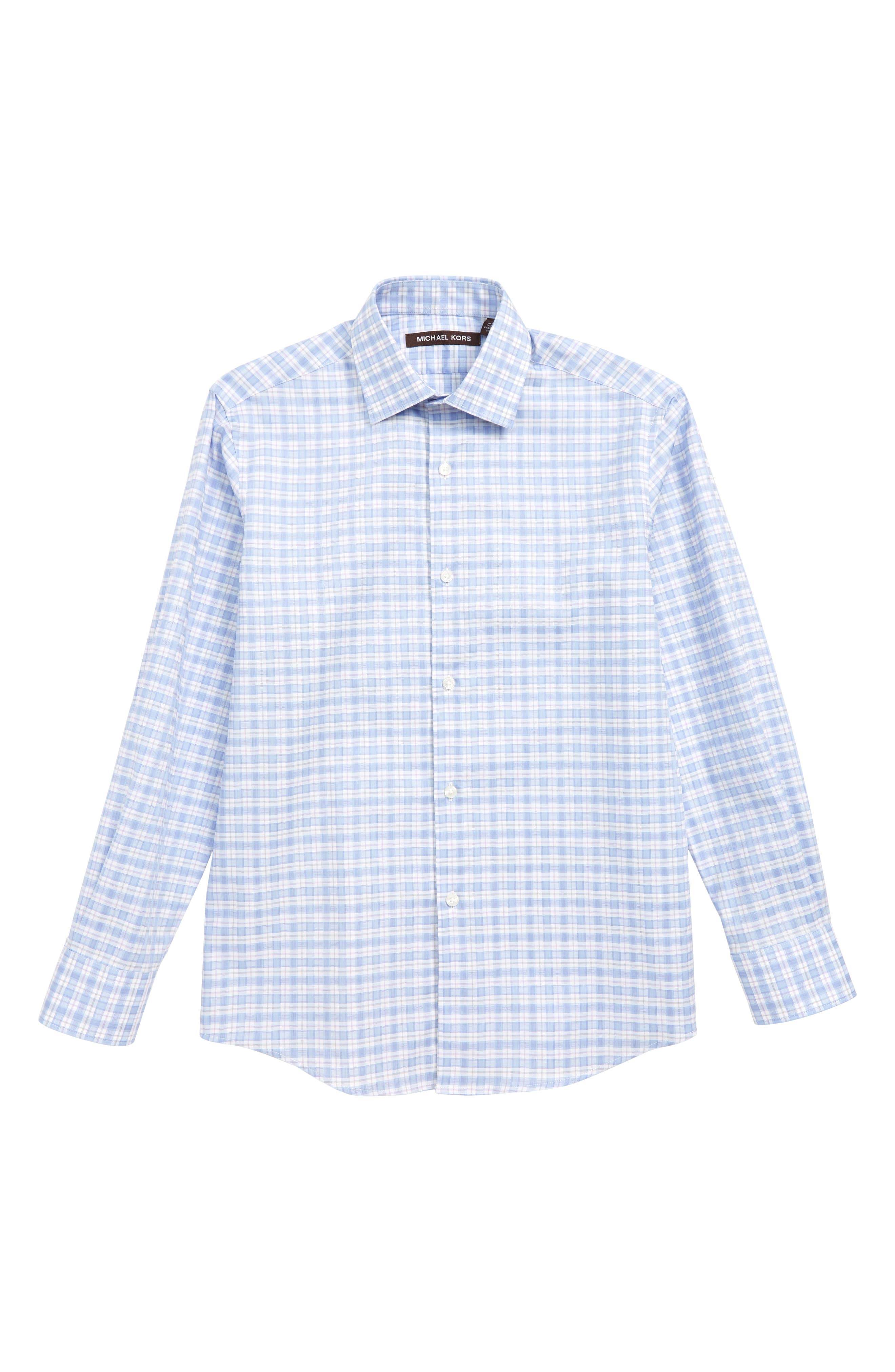 MICHAEL KORS Plaid Dress Shirt, Main, color, BLUE/ PINK