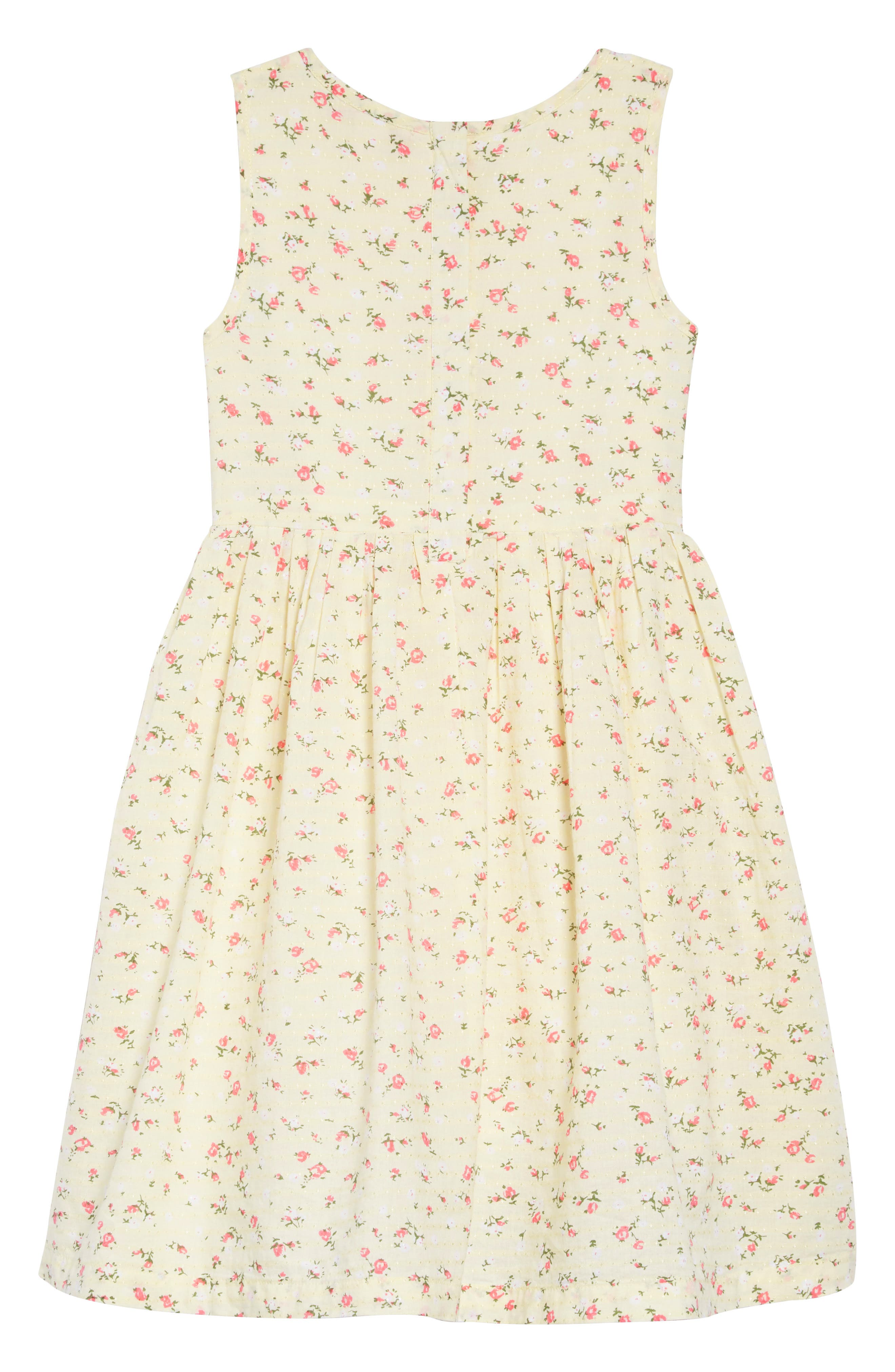 RUBY & BLOOM, Dobby Floral Pleat Dress, Alternate thumbnail 2, color, YELLOW SOFT SUNSHINE DITSY