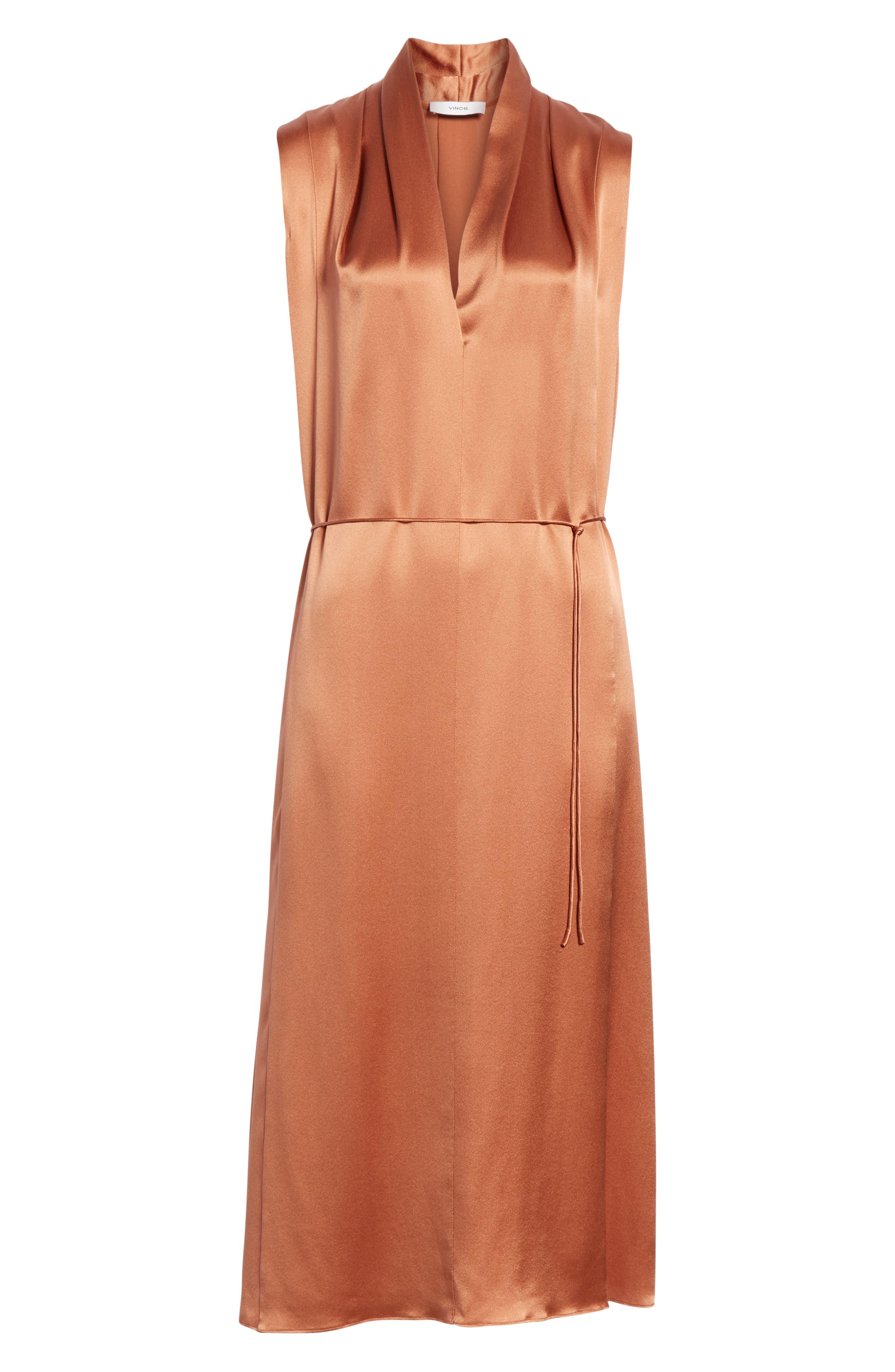 VINCE, Midi Silk Dress, Alternate thumbnail 7, color, CLIFF EMBER