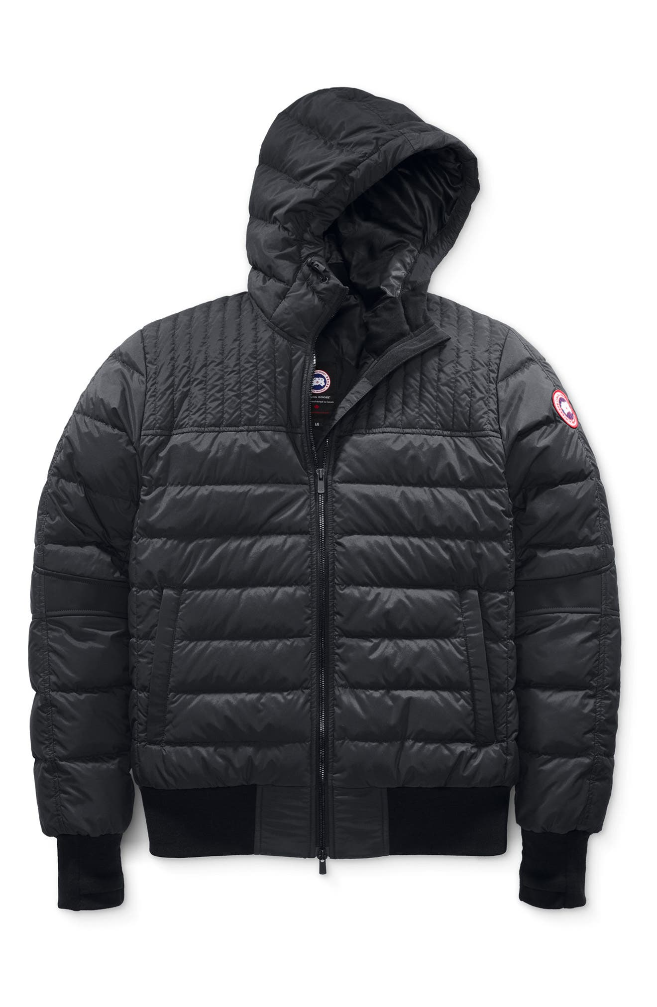 CANADA GOOSE, Cabri Hooded Packable Down Jacket, Main thumbnail 1, color, BLACK
